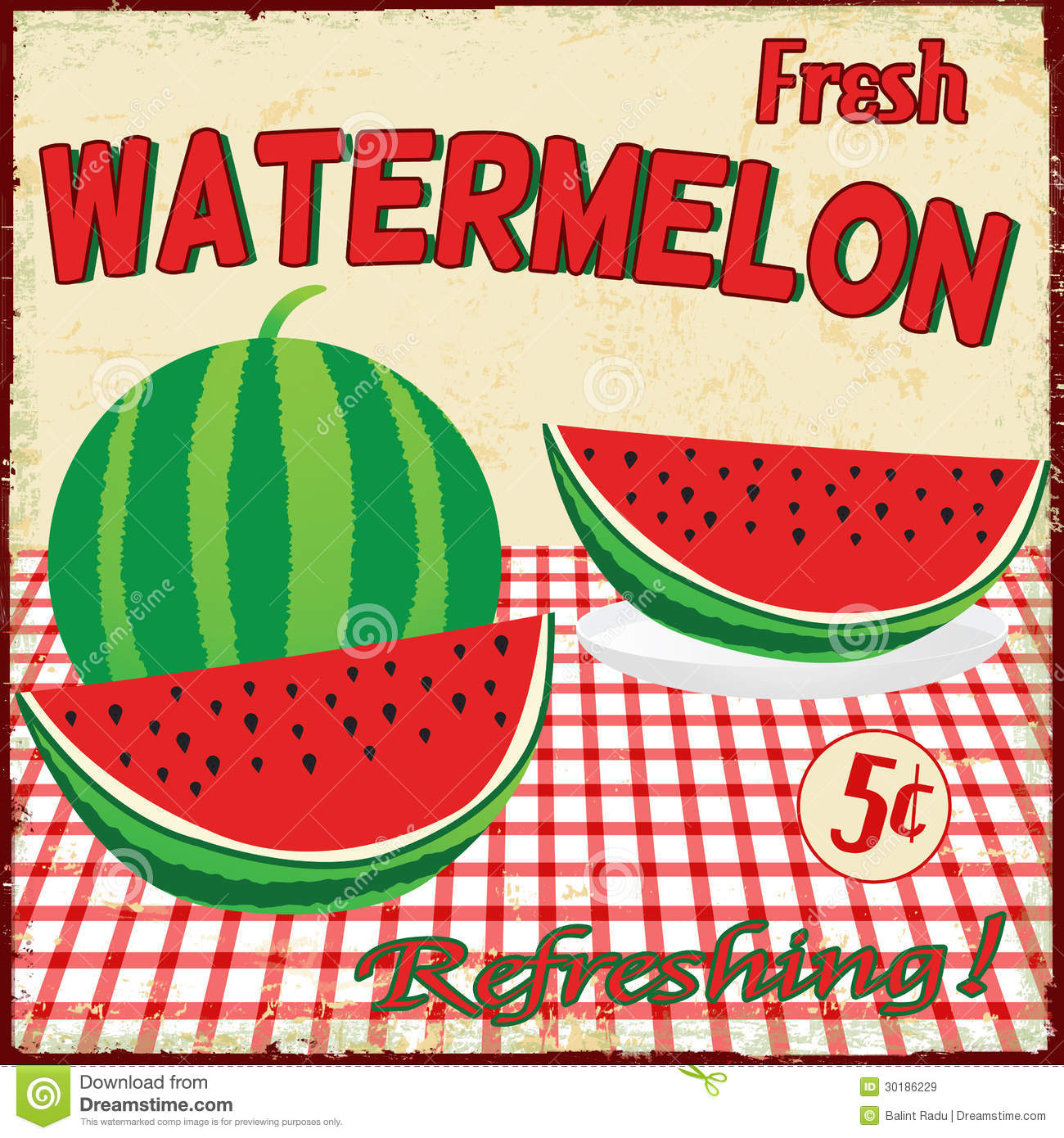 Retro Watermelon Poster Stock Vector - Image: 46009459