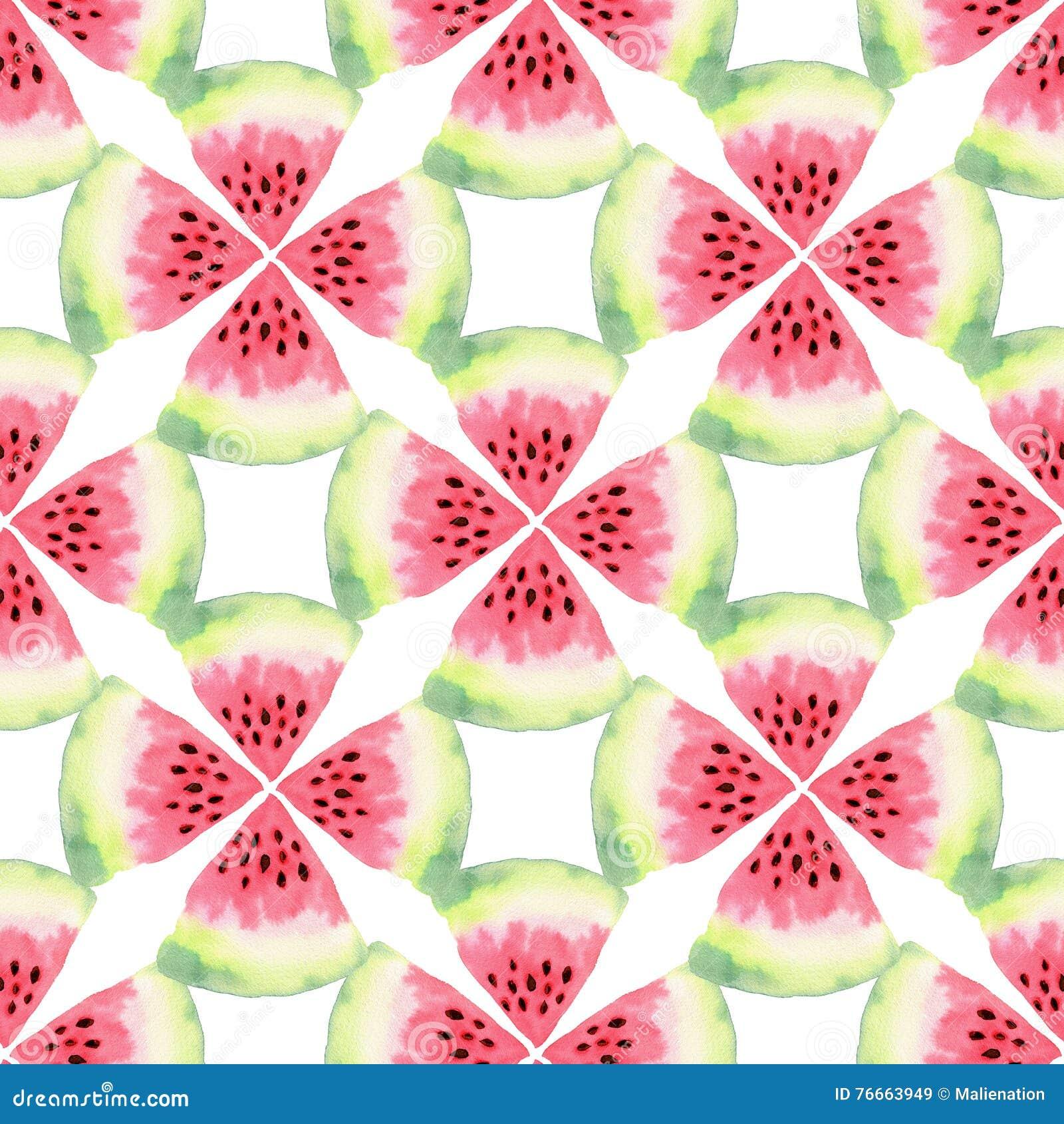 Watermelon watercolor seamless pattern. Modern food illustration. Textile print design