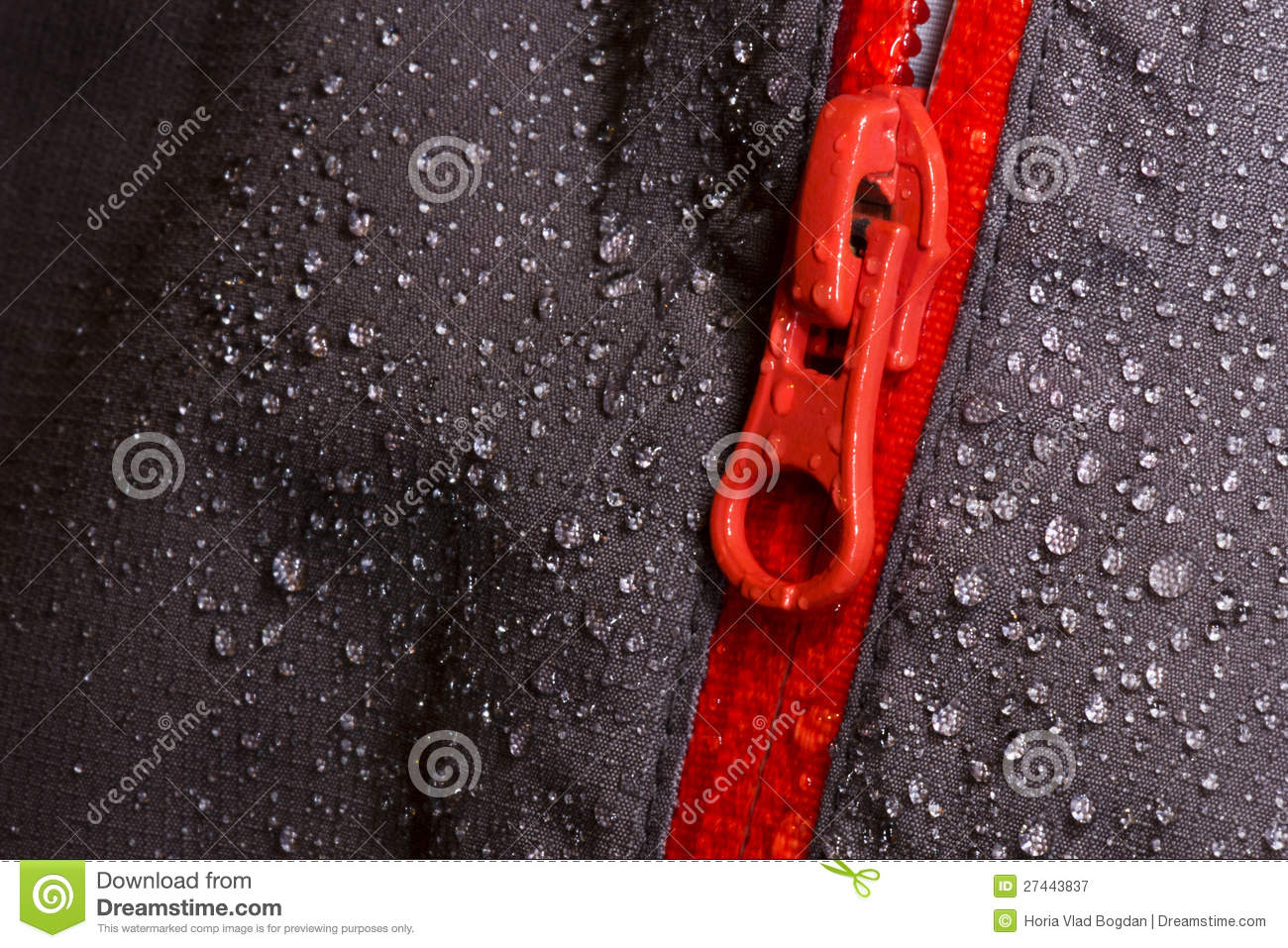 Waterproof Fabric And Zipper For Outdoors Stock Image