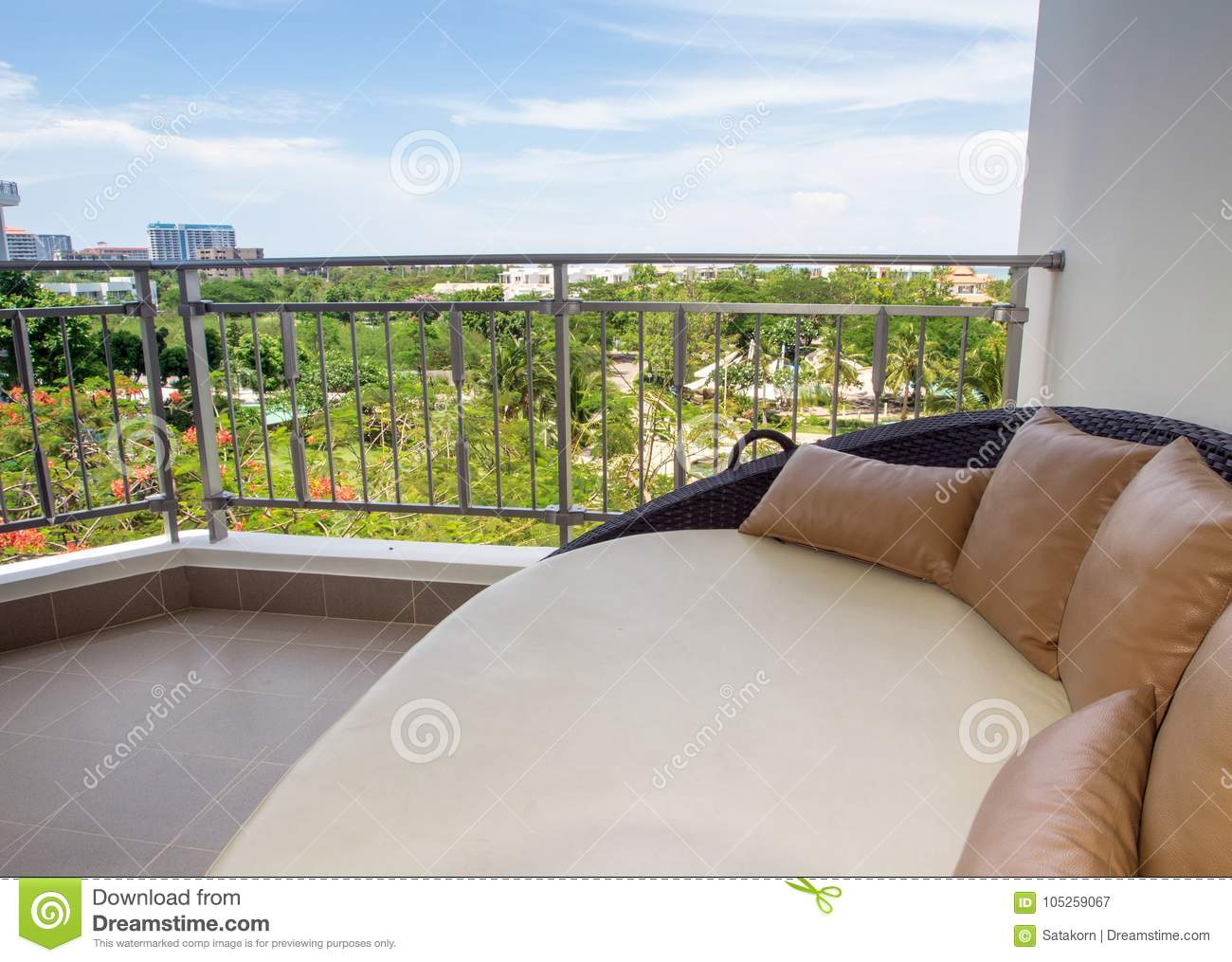 - Waterproof Outdoor Daybed At The Balcony Stock Image - Image Of