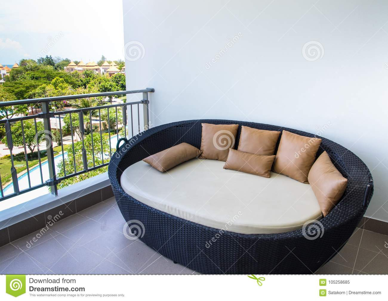 Waterproof Outdoor Daybed At The Balcony Stock Image Image Of Balcony Beautiful 105258685