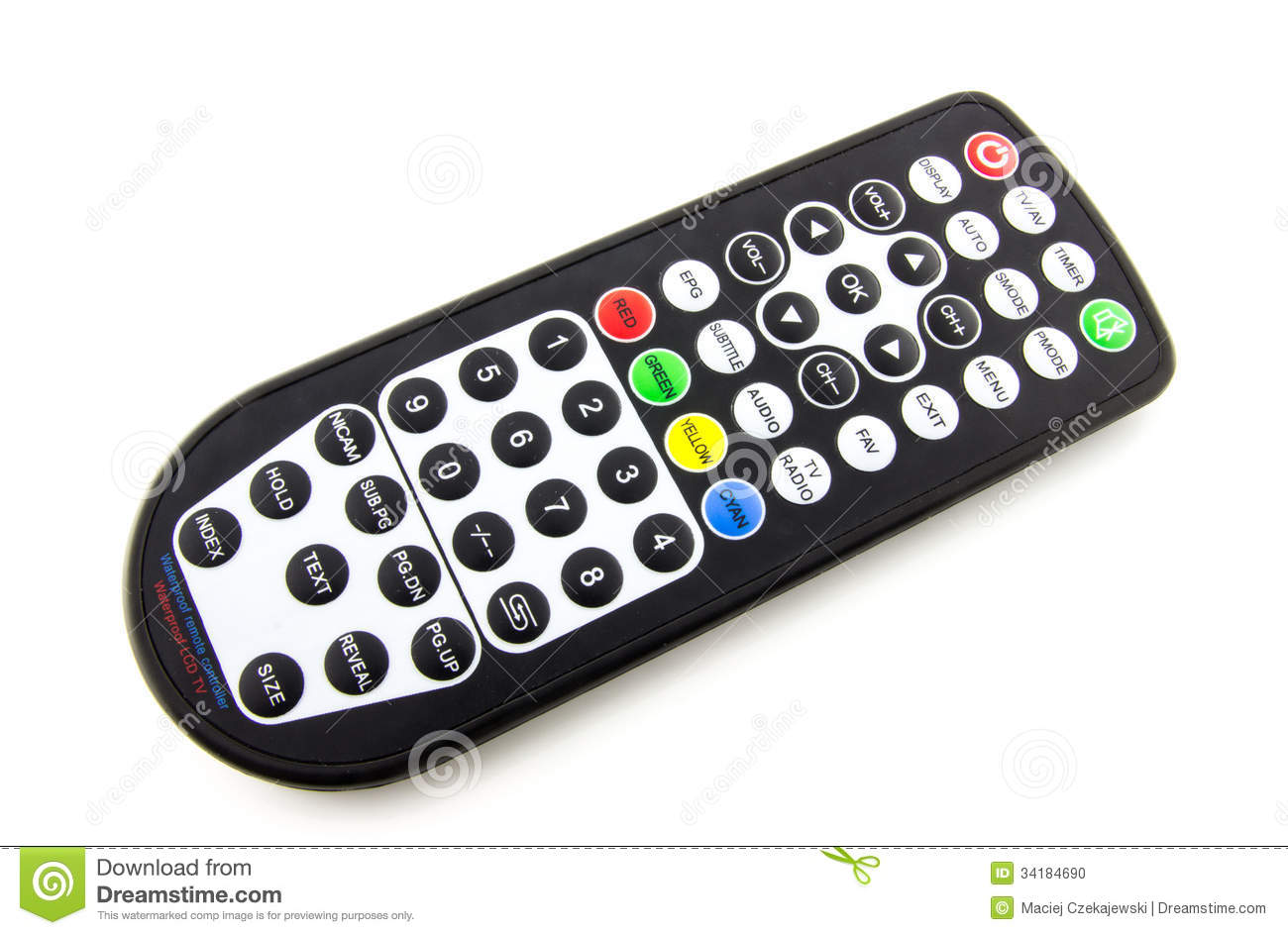Waterproof Tv Remote Control Stock Photo Image 34184690