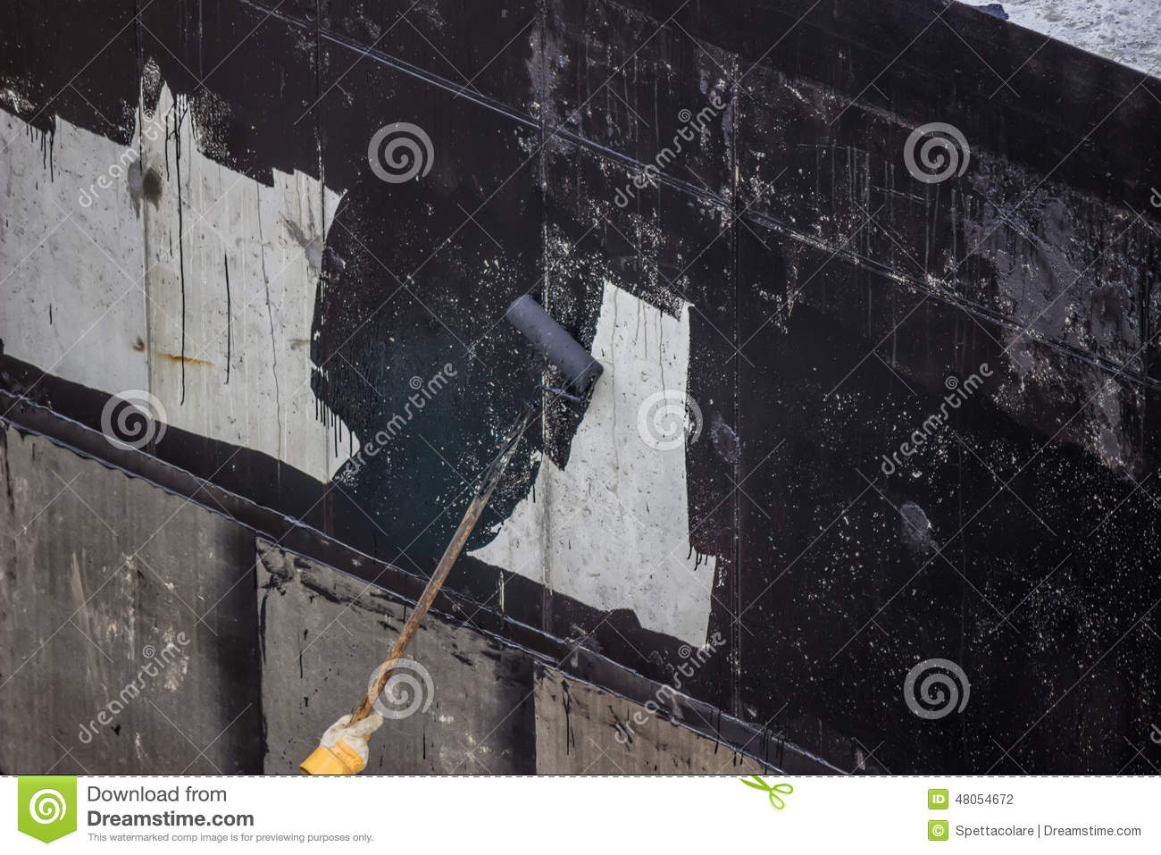 Waterproofing Worker Painting Exterior Concrete Wall With Tar I Stock Photo Image 48054672