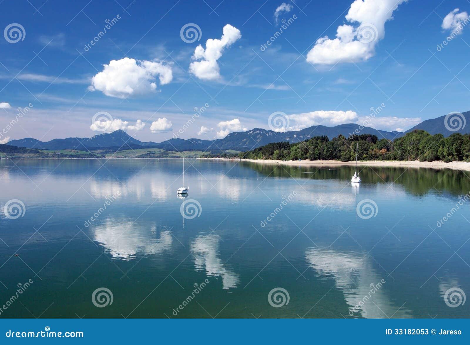 Waters of Liptovska Mara in summer
