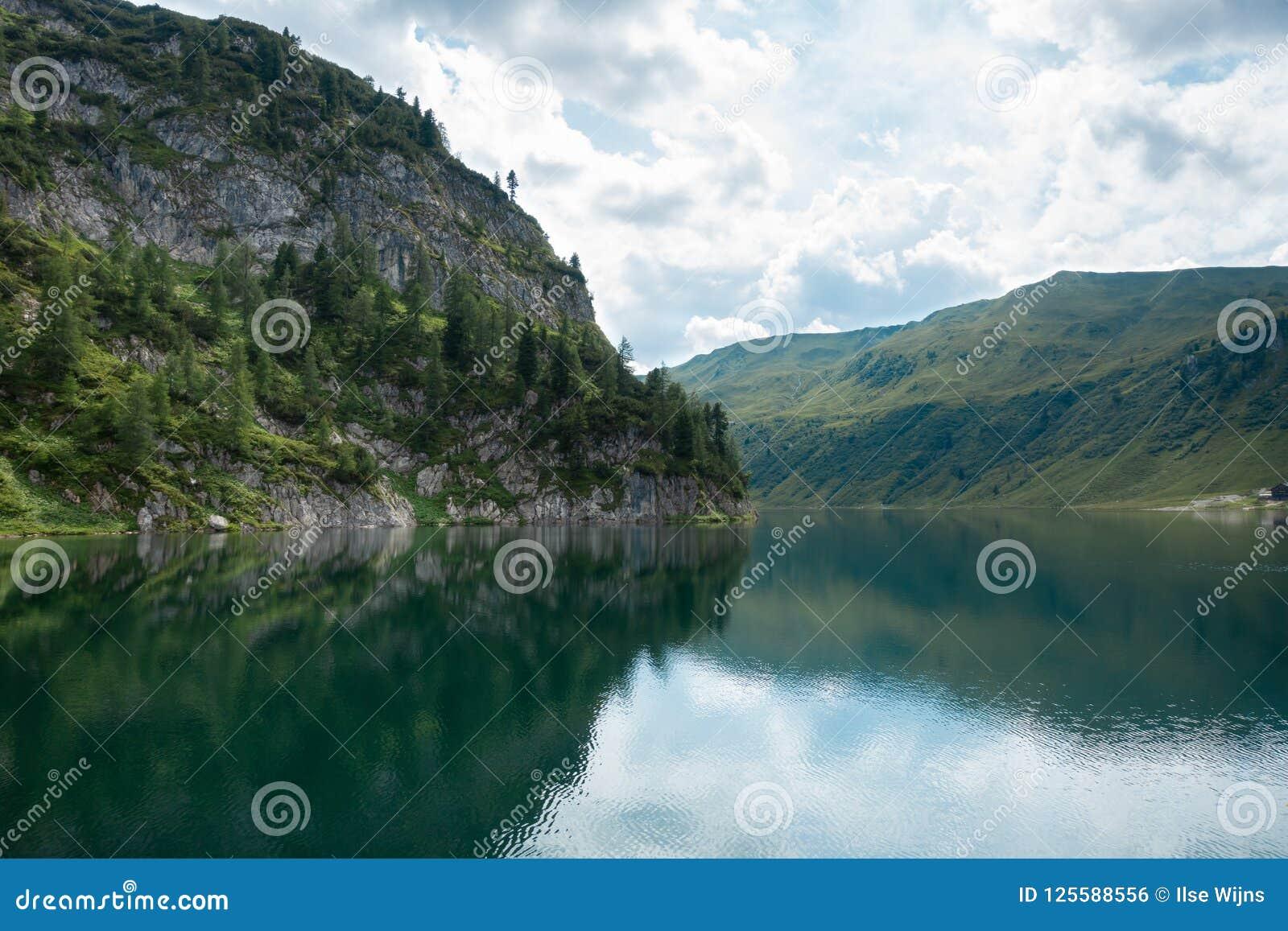 Waterscape through rocks, mountains and pine forest, Salzburg, Austria