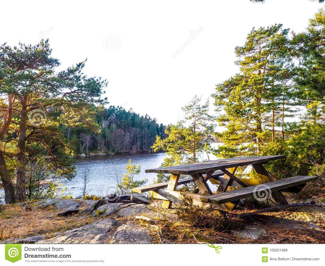 Waterside picnic bench