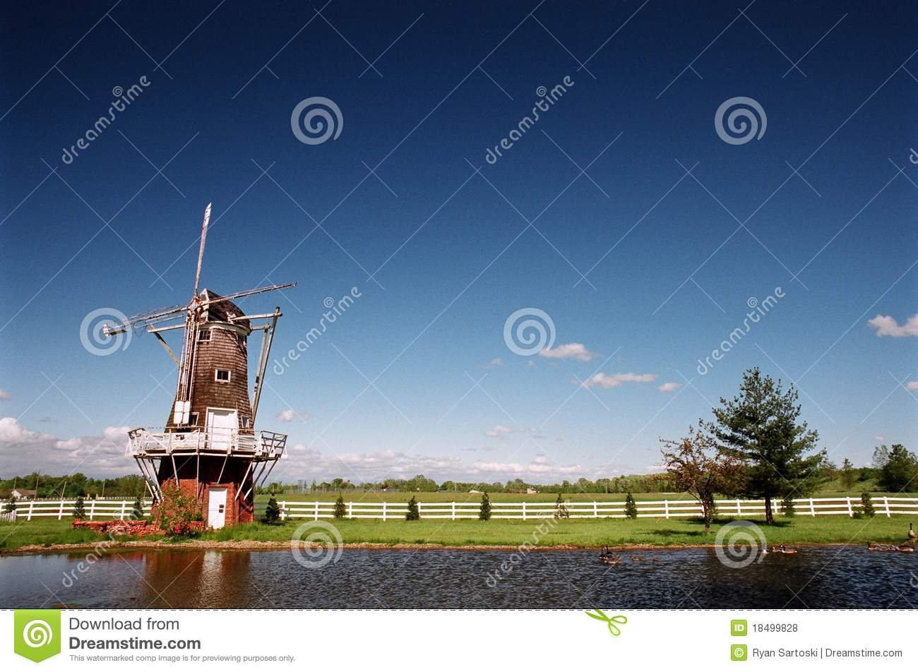 Waterside Windmill Royalty Free Stock Photos - Image: 18499828