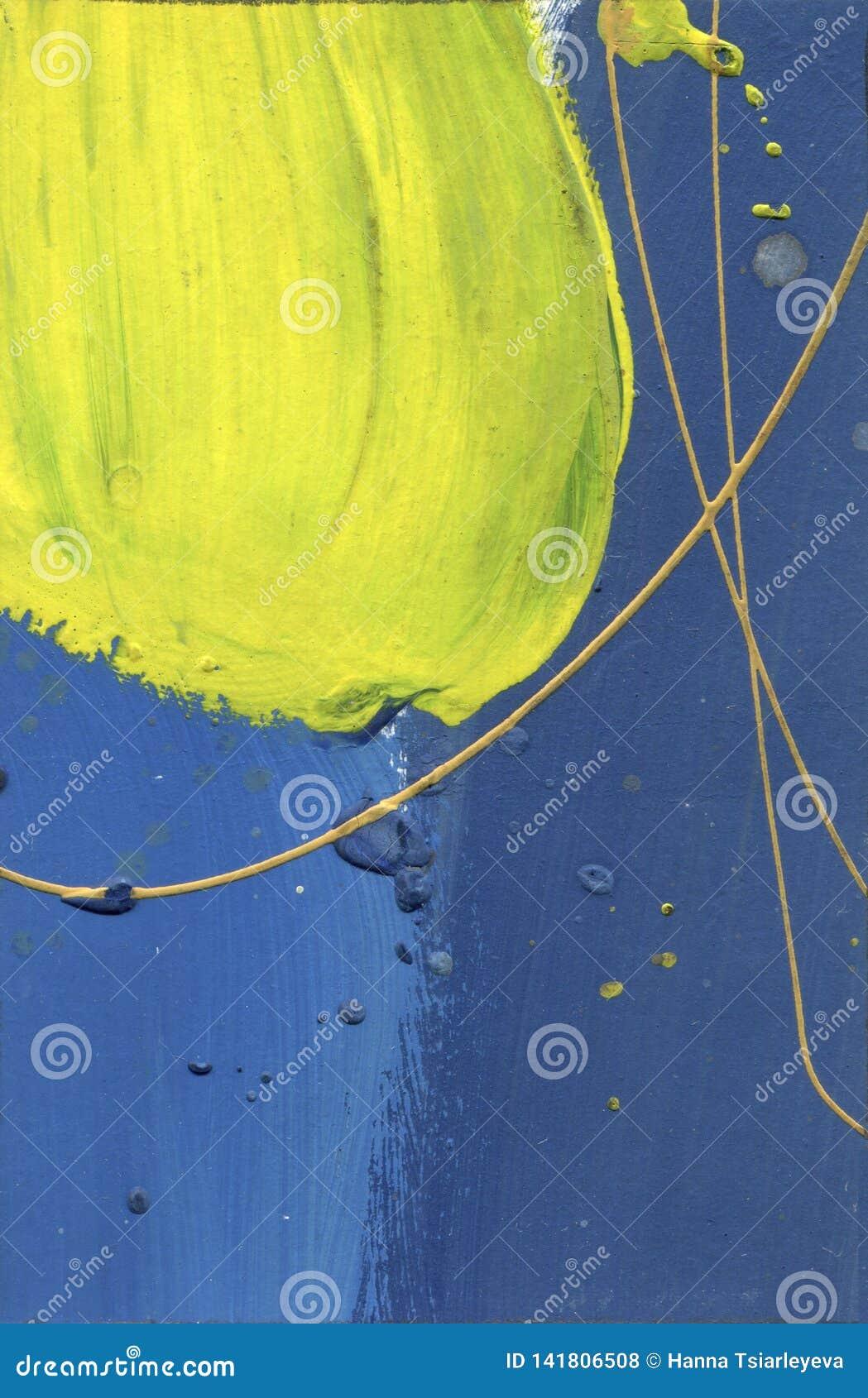 Waterverf abstract gekwetst canvas Woestijneffect overhandigen de acrylplonsen - gemaakte verf gele en blauwe lijnentextuur Blauw