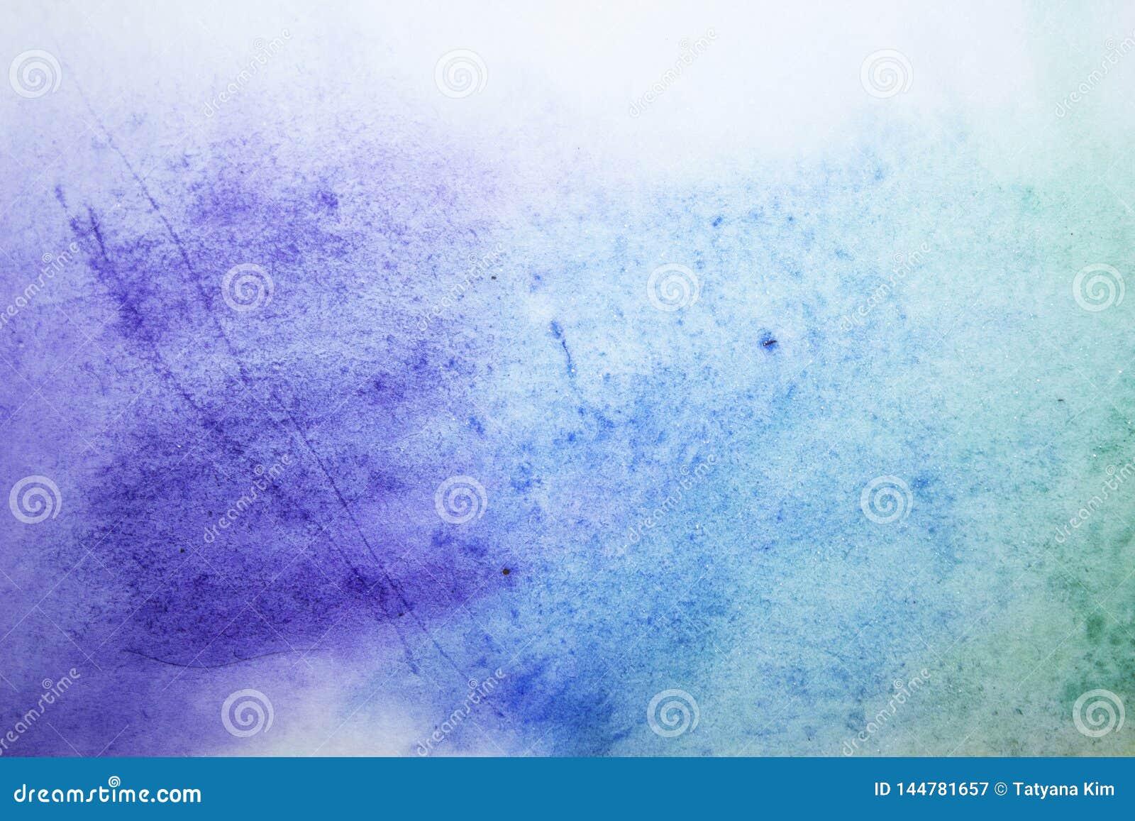 Waterverf achtergrond blauwe verfvlekken op papier