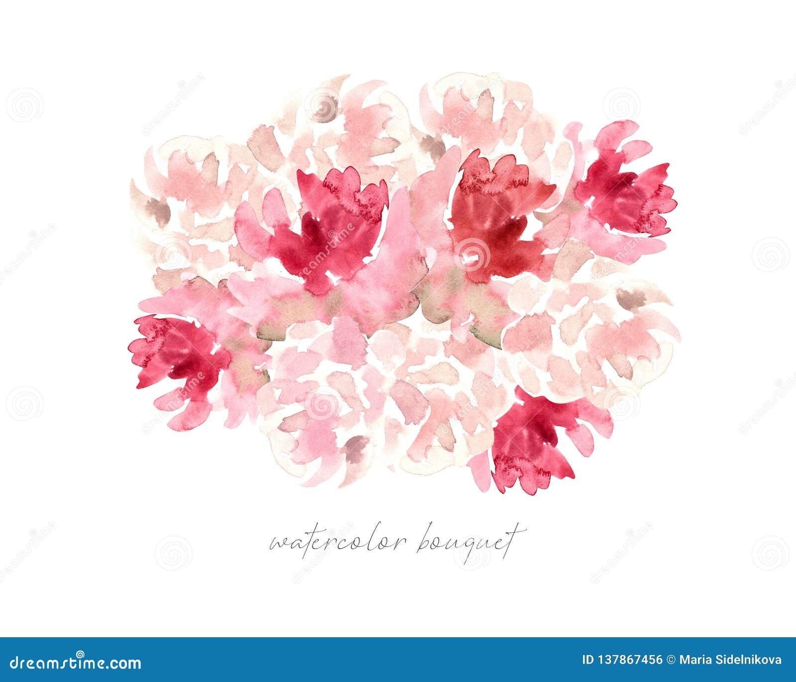 Waterverf backgrounde, roze rozen en pioenenboeket, bloemen