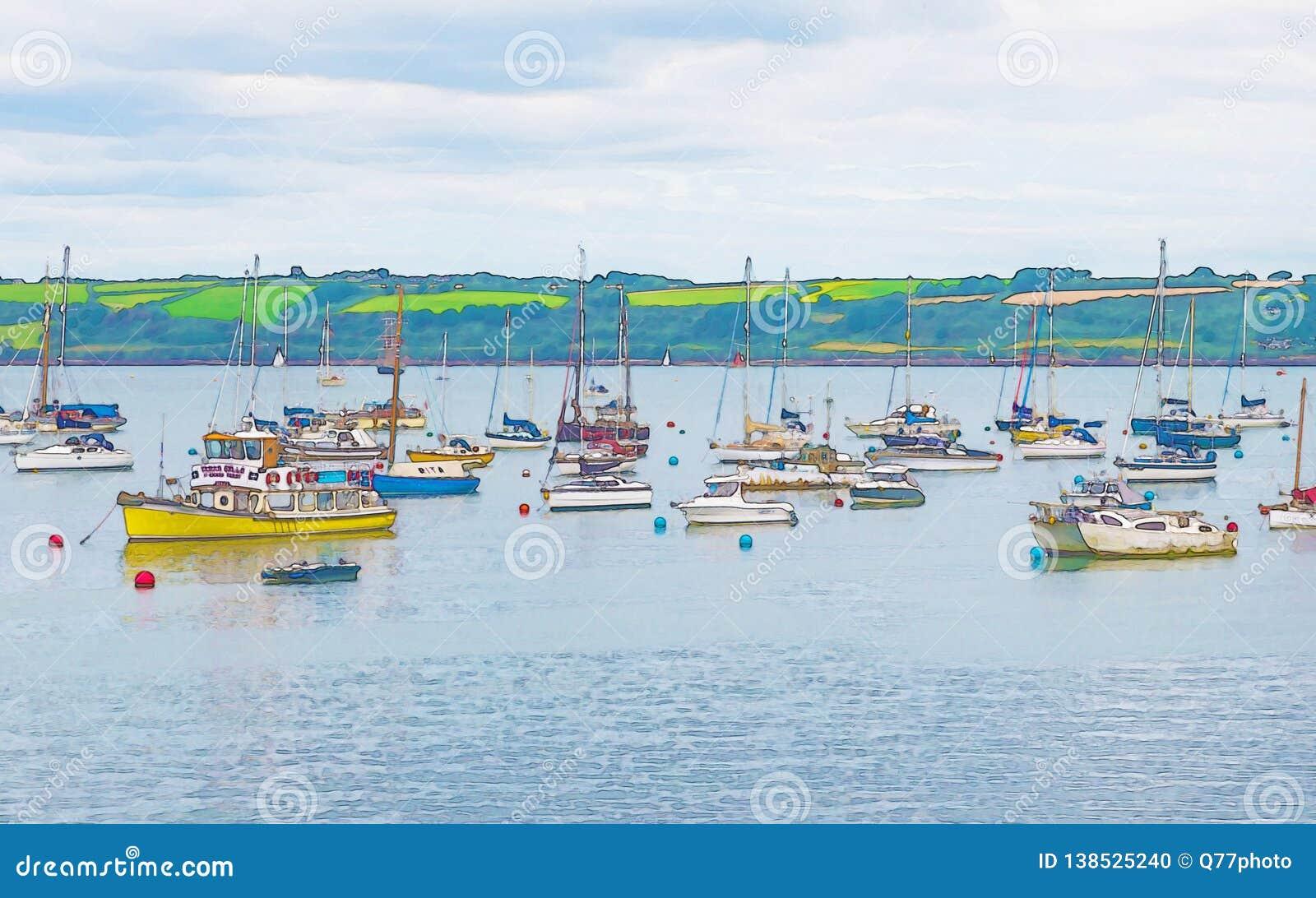 Waterverf die afschilderend verankerde jachten en boten in een kleine baai schilderen