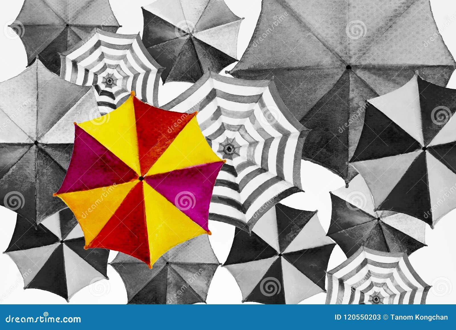 Waterverf die kleurrijke paraplu schilderen