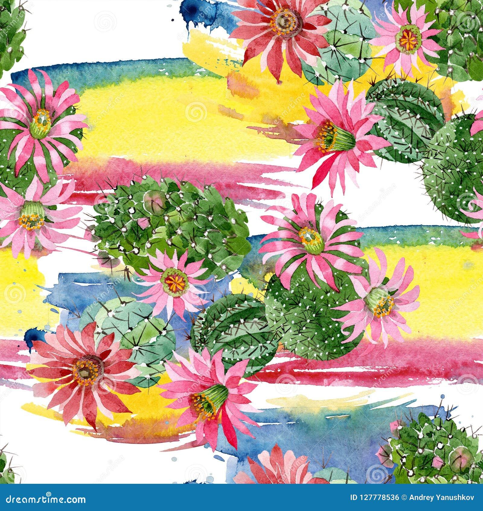 Waterverf groene cactus met een roze bloem Bloemen botanische bloem Naadloos patroon als achtergrond