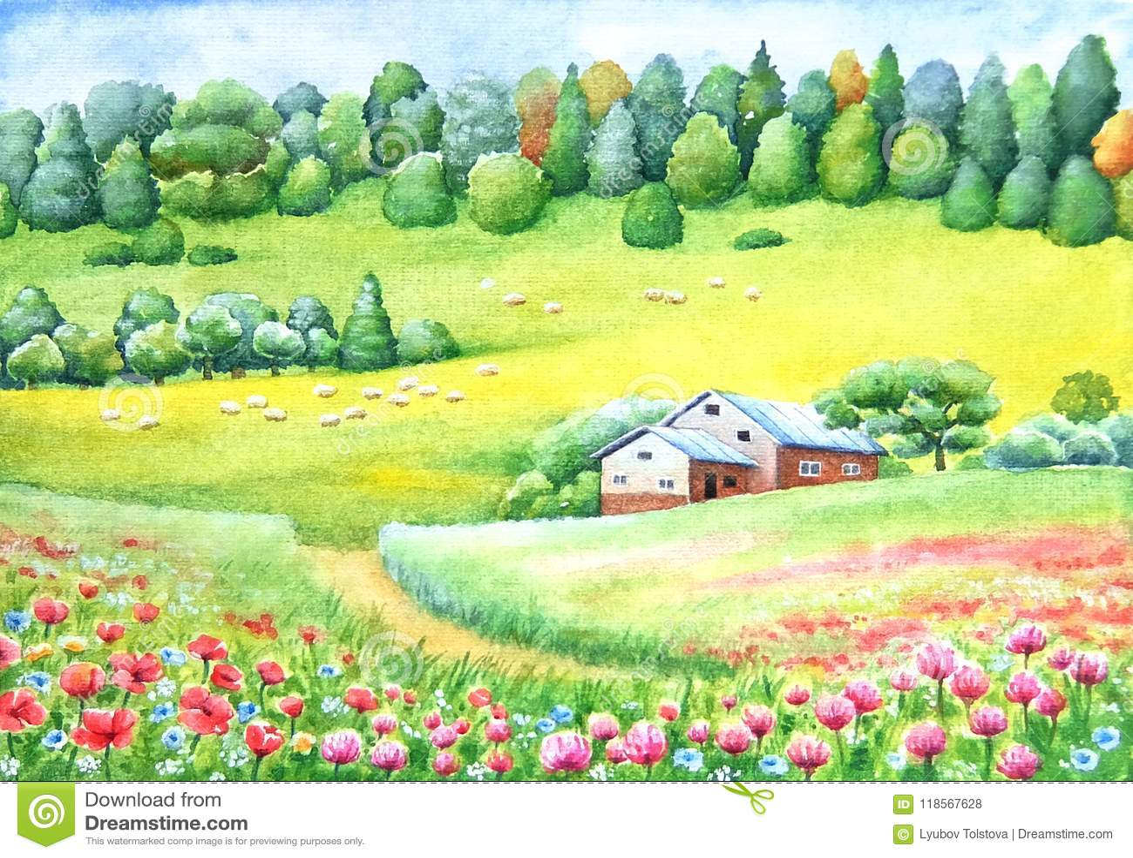 Waterverf het levendige schilderen van platteland