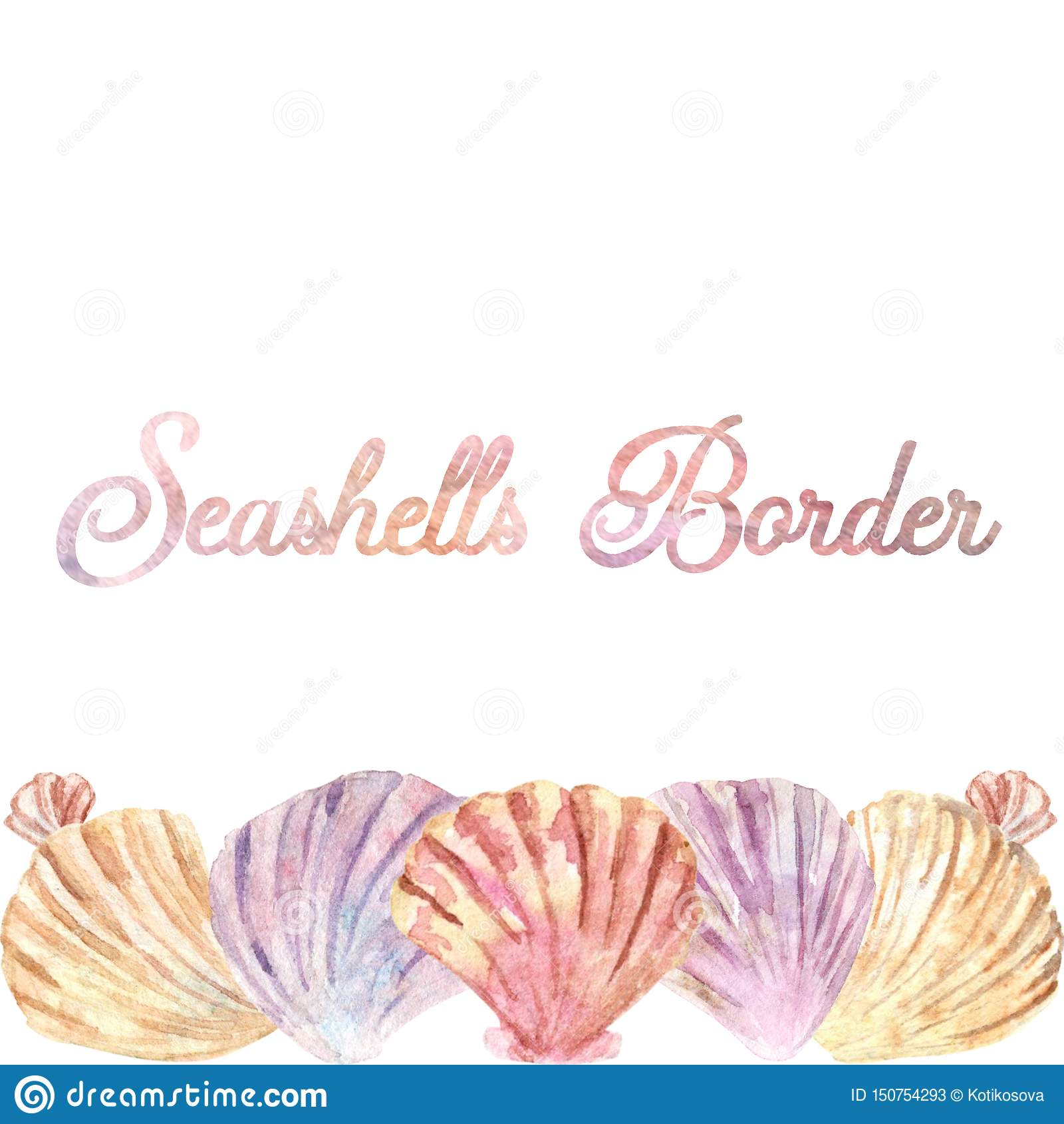 Waterverf horizontale shell grens Perfectioneer voor adreskaartjes of sociale media posten