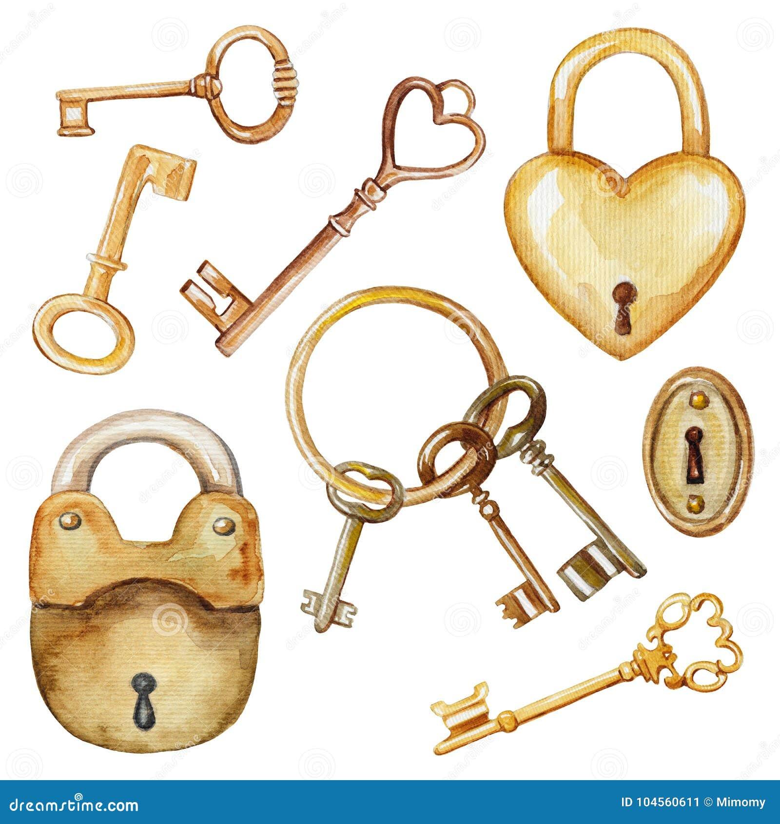 Waterverf met uitstekende sleutels en sloten wordt geplaatst dat