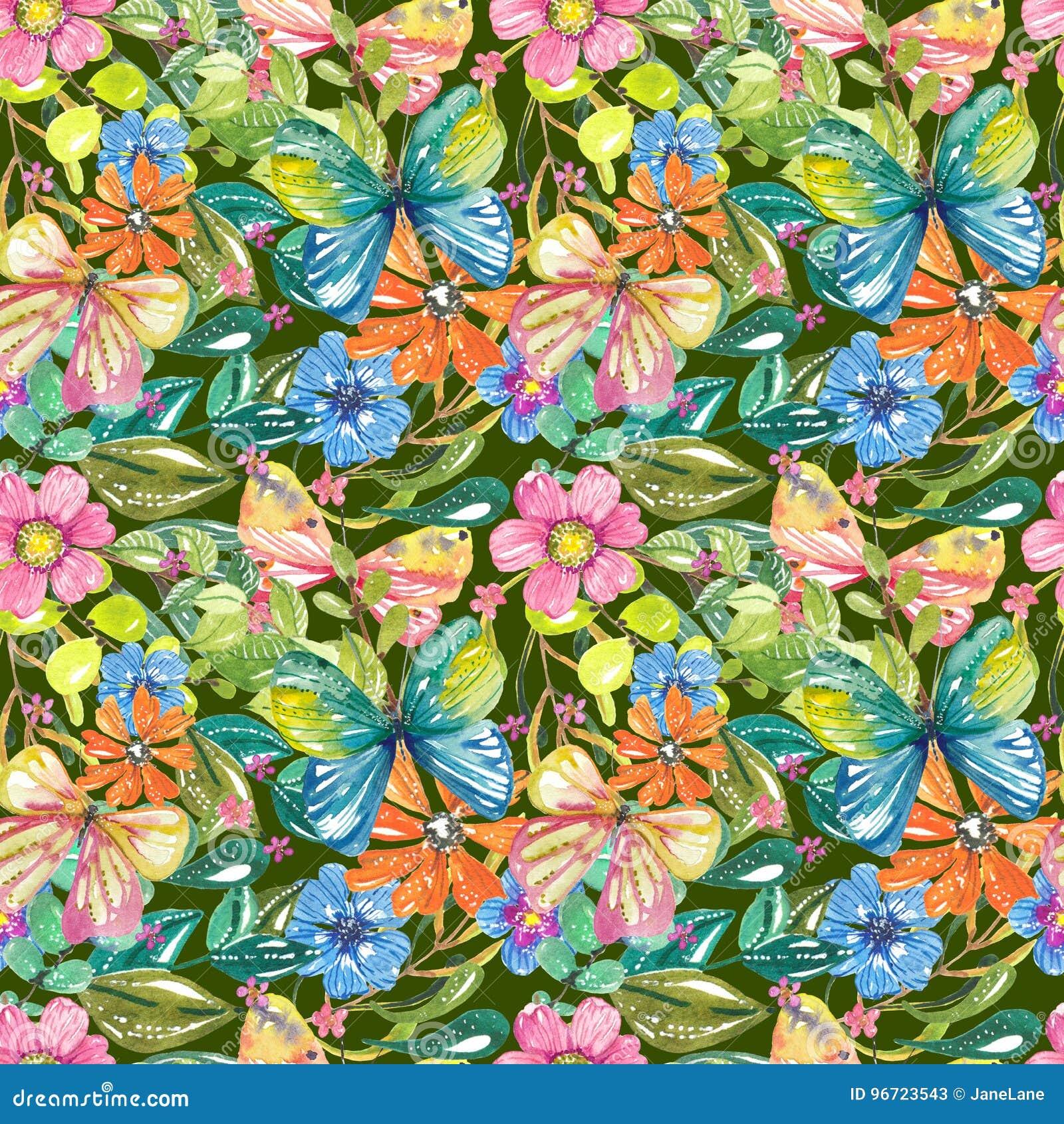 Waterverf mooi bloemenontwerp met vlinders, naadloos klopje