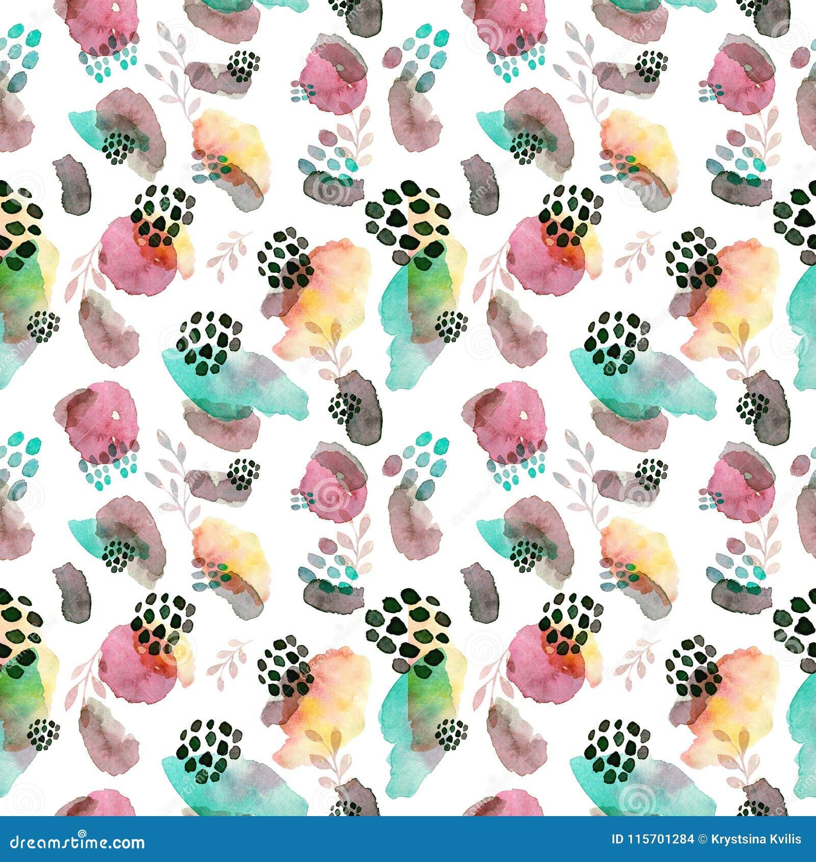 Waterverf naadloos patroon, de manierstijl die van puntmemphis, helder ontwerp achtergrond herhalen De hand schilderde moderne bo