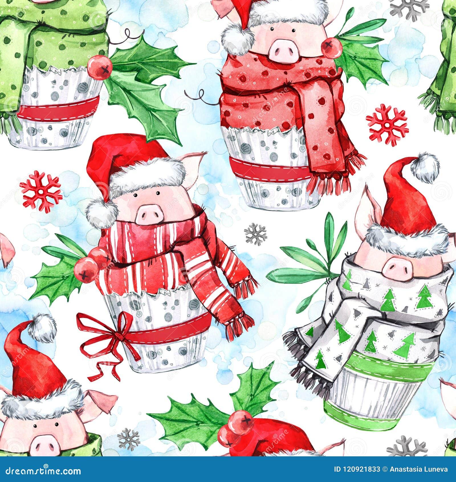 Waterverf naadloos patroon Leuke varkens met sjaal in cupcakes Nieuw jaar De illustratie van de viering Vrolijke Kerstmis
