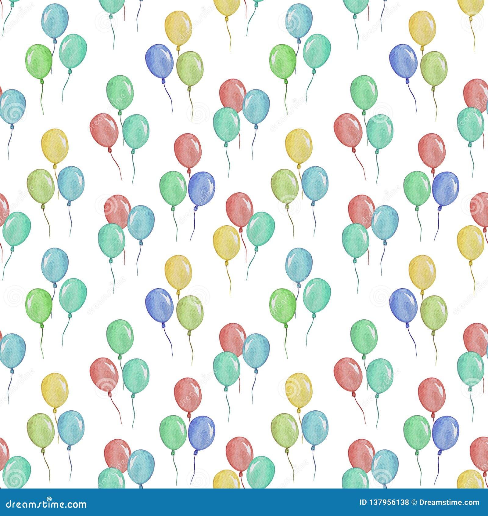 Waterverf naadloos patroon met ballons, illustratie voor de kleding van kinderen