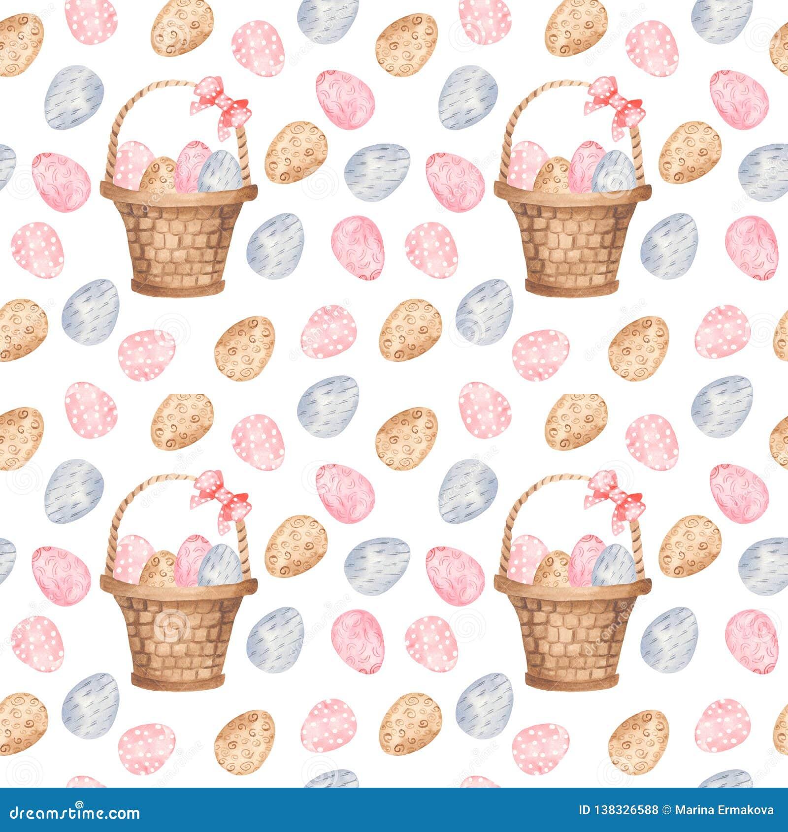Waterverf naadloos patroon met kleurrijke paaseieren en mand