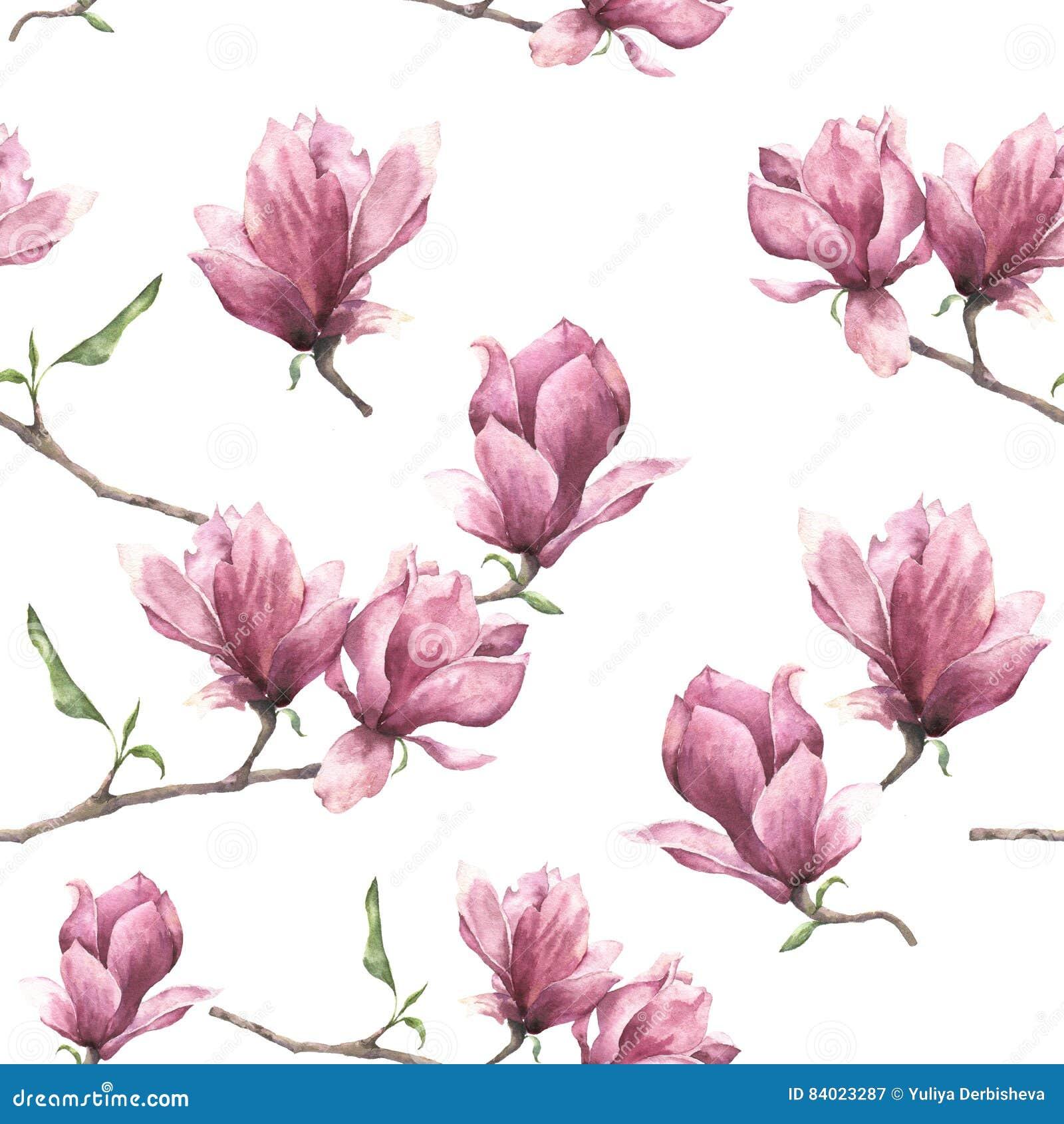 Waterverf naadloos patroon met magnolia De hand schilderde bloemendieornament op witte achtergrond wordt geïsoleerd Roze bloem vo