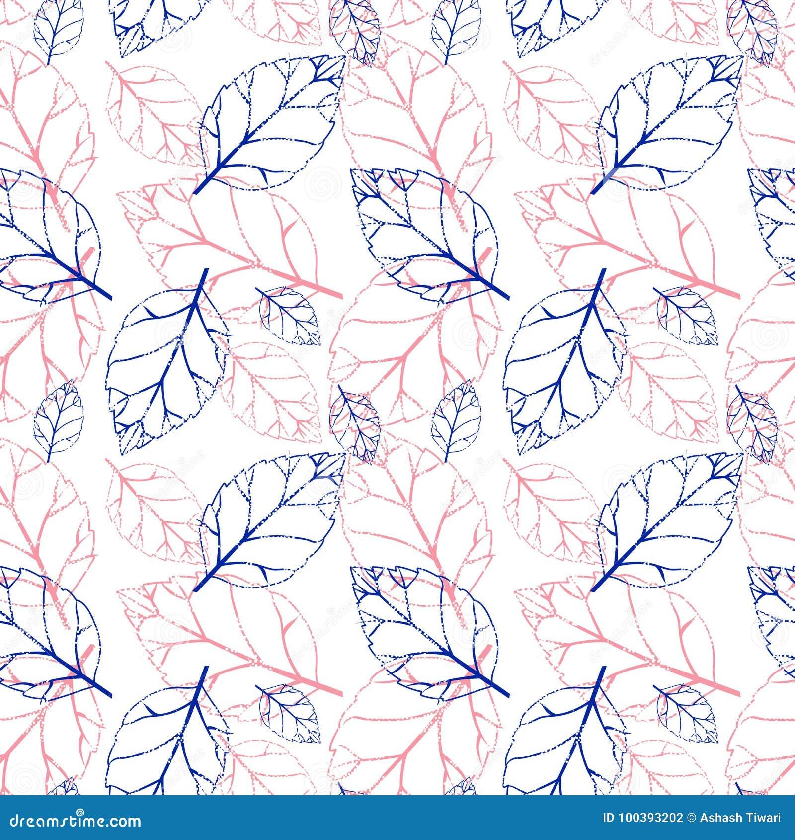 Waterverf naadloos patroon met roze en oranje de herfstbladeren De achtergrond van de aard