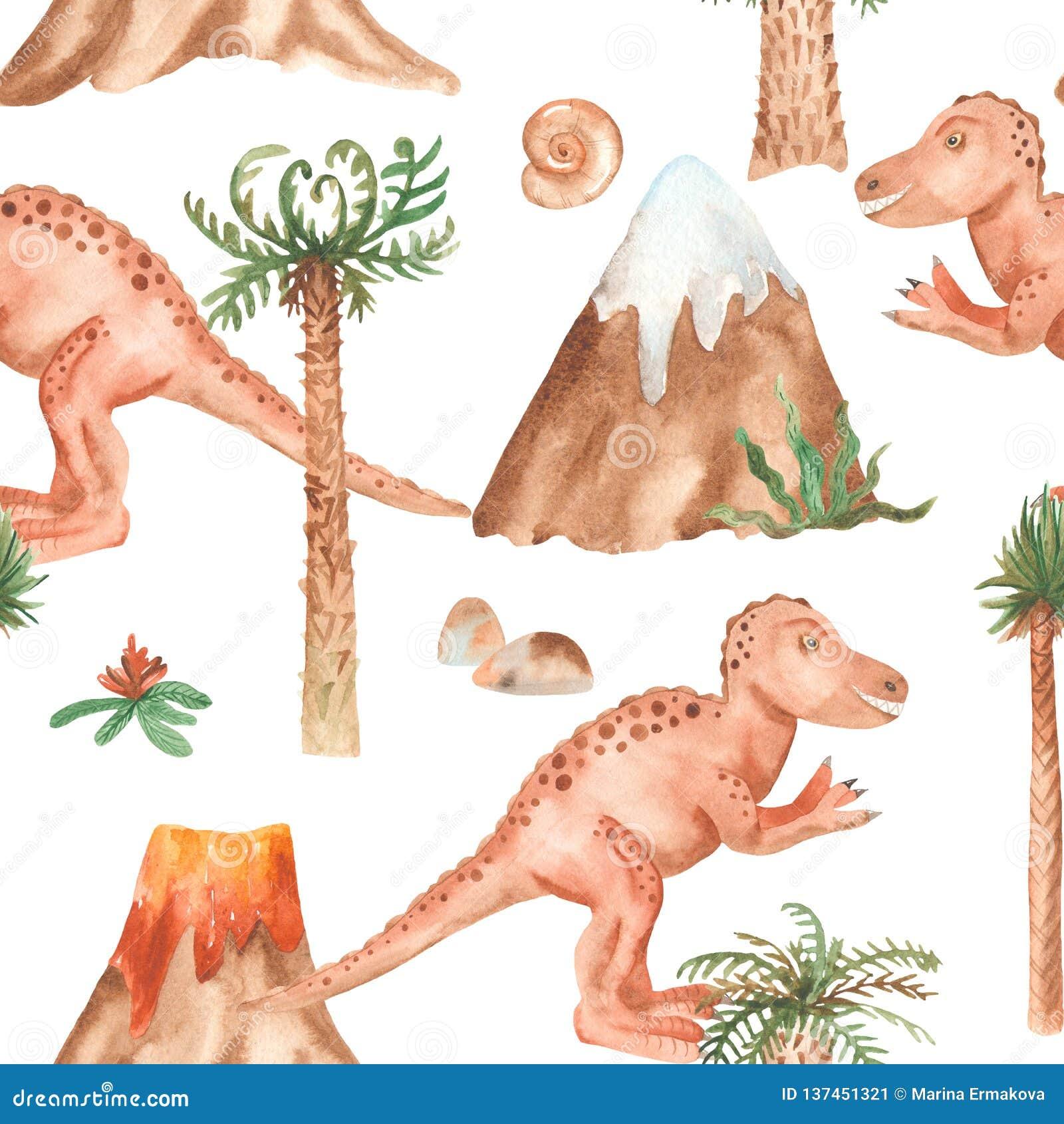 Waterverf naadloos patroon met tyrannosaur, palmen, bergen