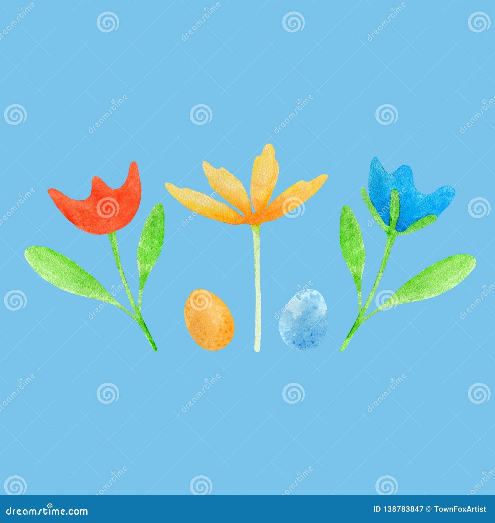Waterverf Pasen met eieren en bloemen wordt geplaatst die