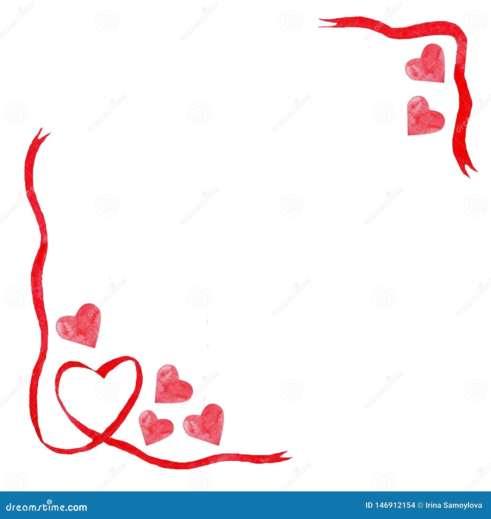 Waterverf rode harten, van het de liefdehuwelijk van het lintenkader de valentijnskaartdag