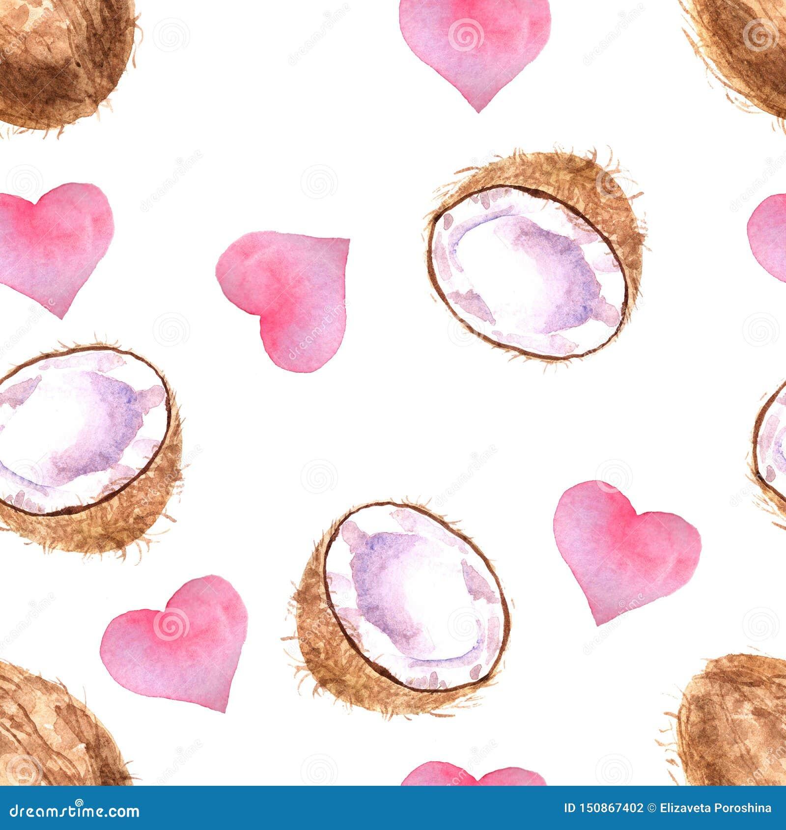 Waterverf tropisch naadloos patroon met kokosnoot op een witte achtergrond
