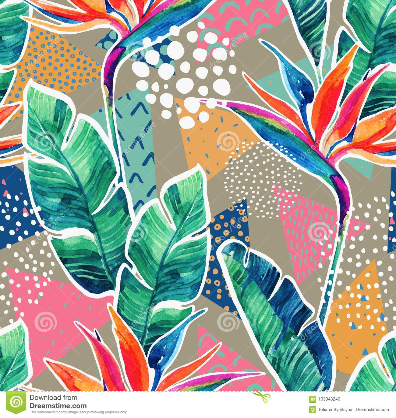Waterverf tropische bloemen met contour op geometrische achtergrond