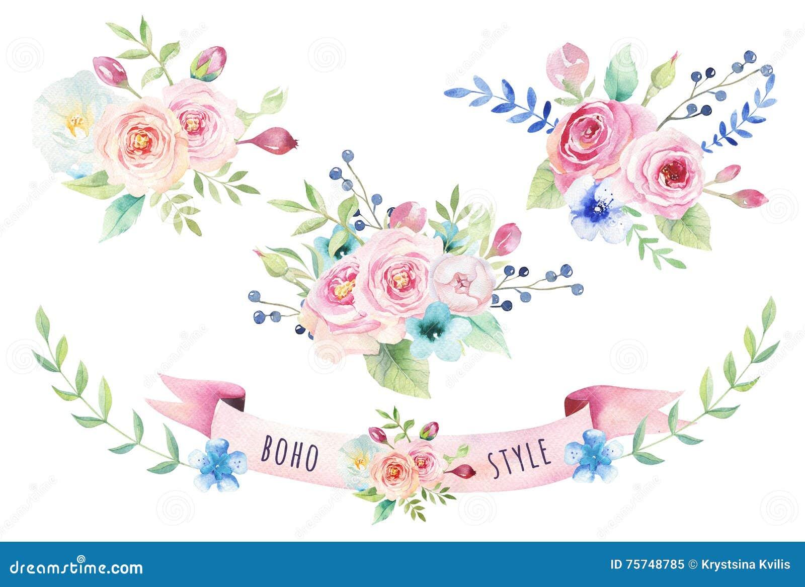 Waterverf uitstekend bloemenboeket De bloemen en het blad van de Boholente