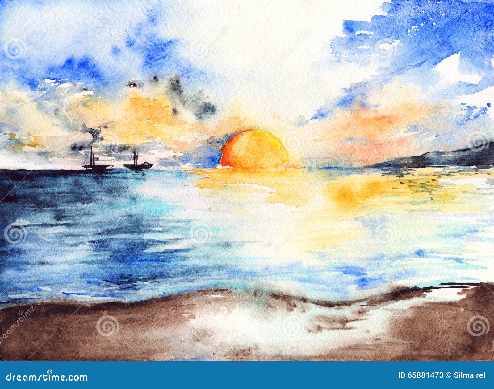 Waterverf van overzeese het oceaanlandschap zonsondergang heldere schepen