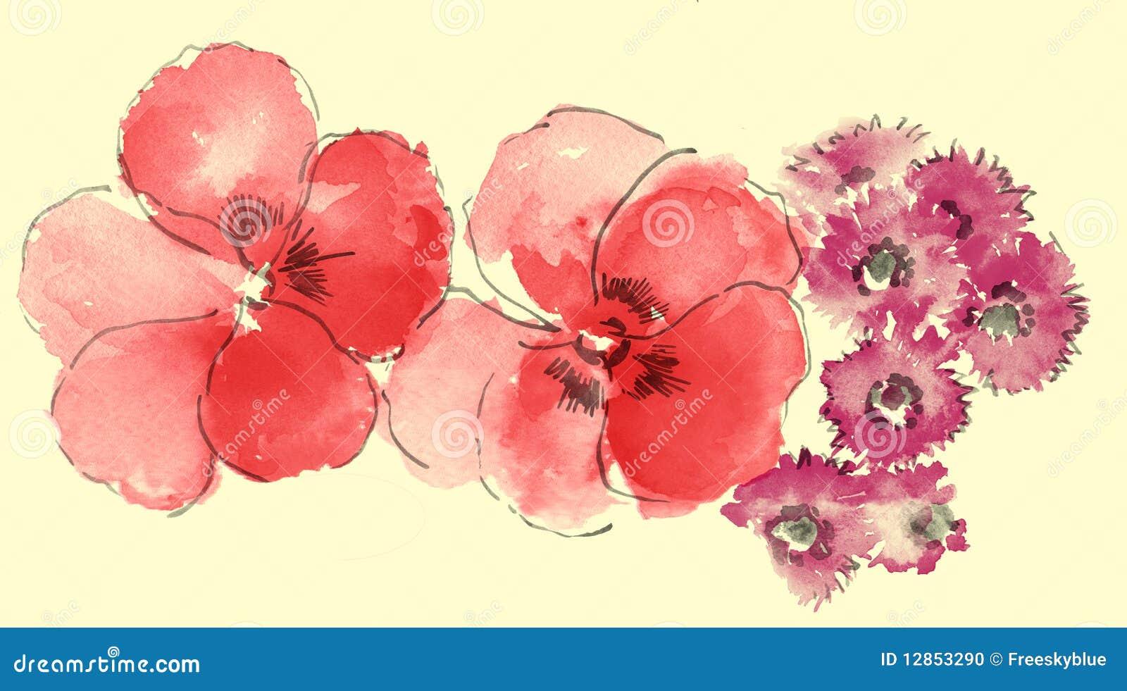 Waterverf van sakura en madeliefje