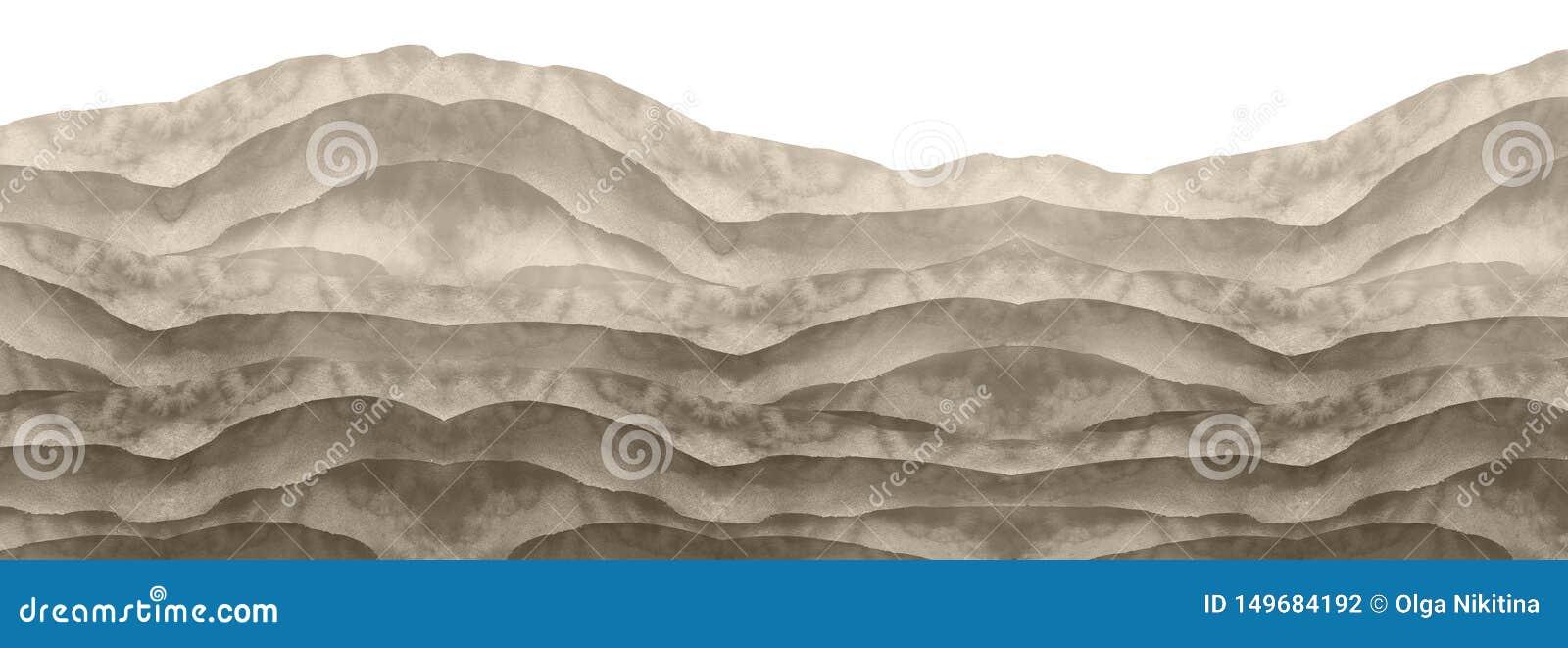 Waterverf zwart-witte heuvel, heuveltje, gras Woestijn, zand De zomer, de herfstlandschap op wit geïsoleerde achtergrond De zomer