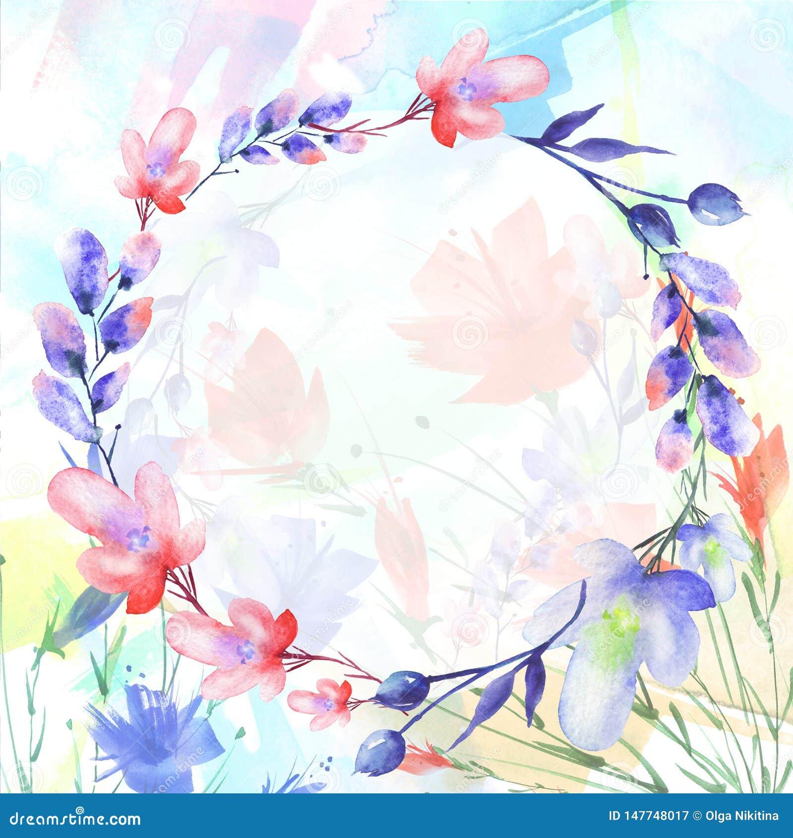 Waterverfboeket van bloemen, Mooie abstracte plons van verf, wilg, papaver, kamille
