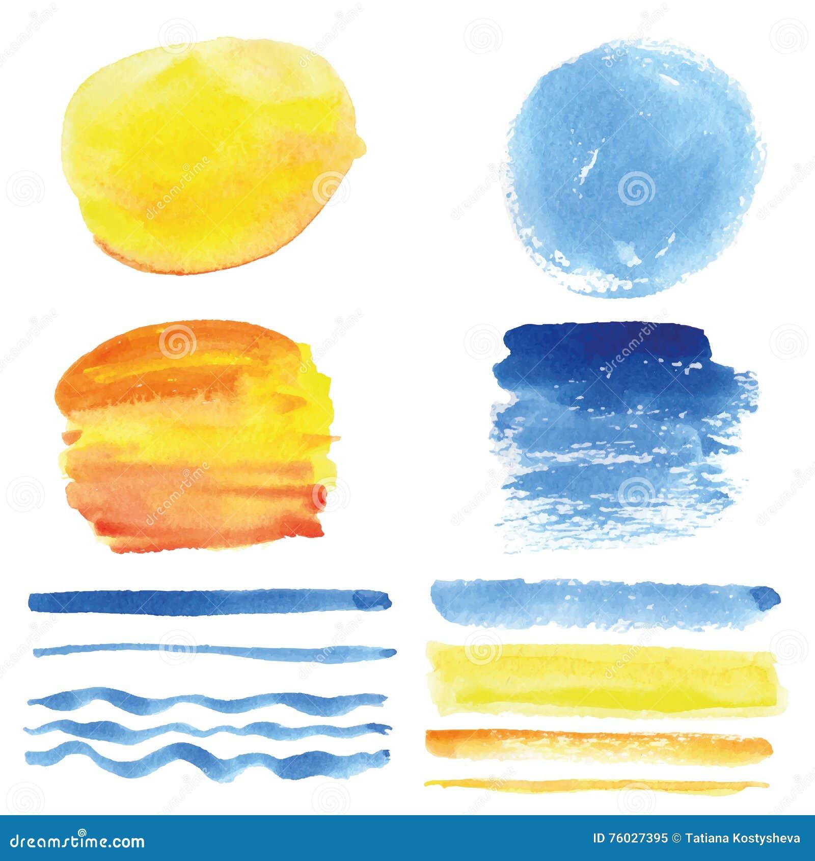 Waterverfborstels, cirkelkader Cyaan, geel De zomer