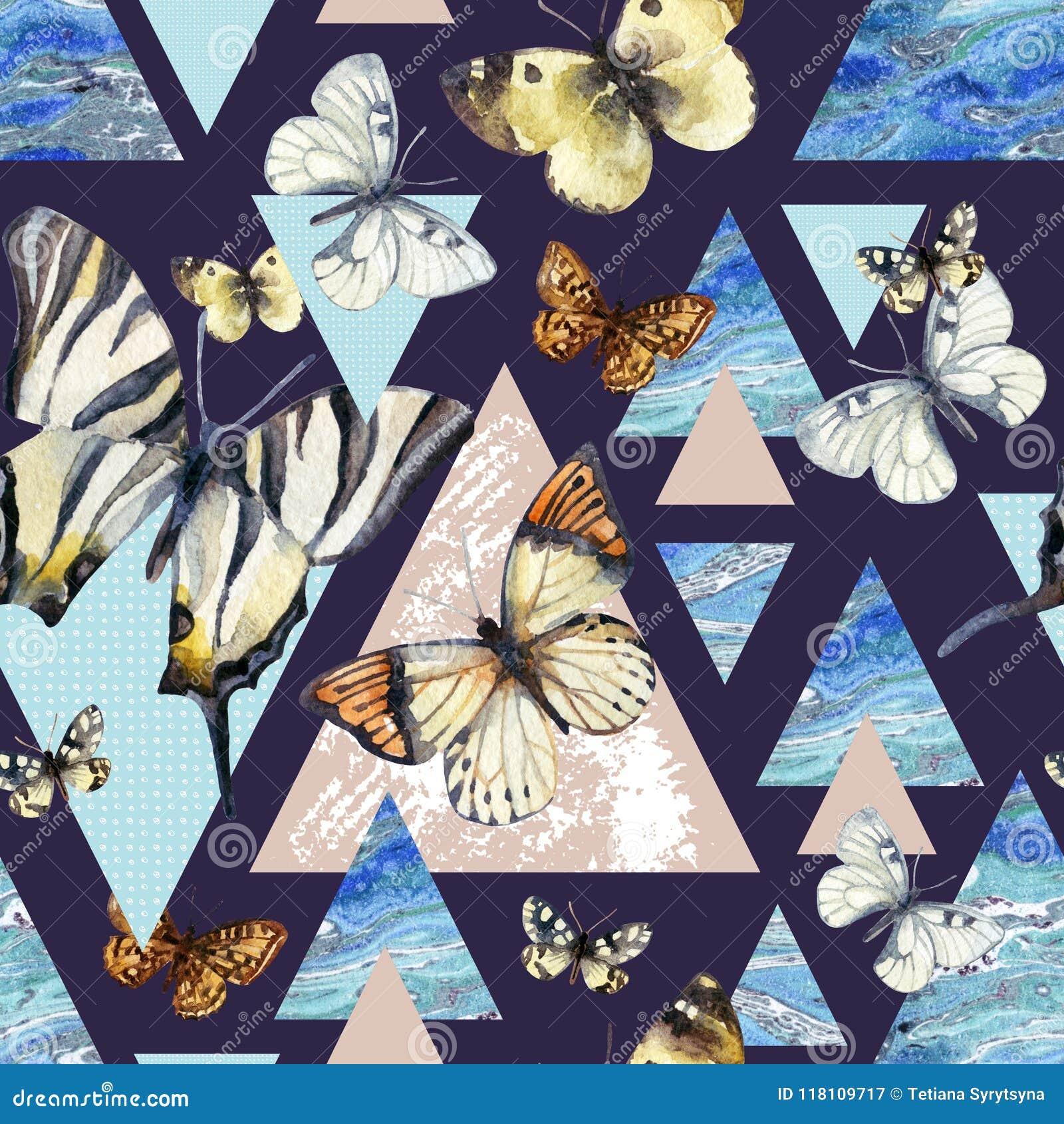 Waterverfdriehoeken met vlinder en marmeren grungetexturen
