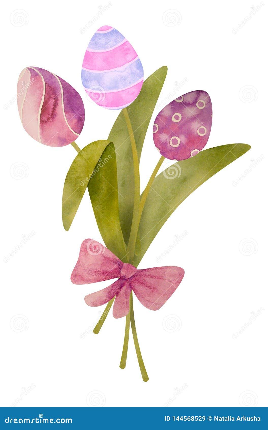 Waterverfhand getrokken samenstelling met tulpenei van gelukkige Pasen Ge?soleerd op een witte achtergrond