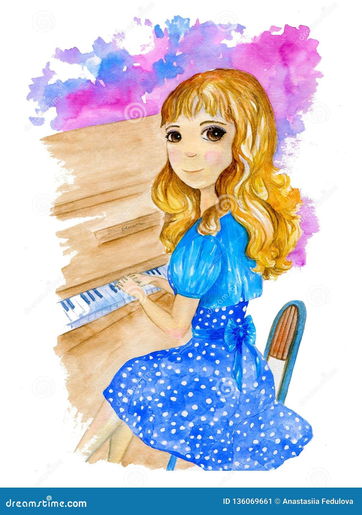 Waterverfillustratie over mooi blondemeisje die in blauwe kleding de piano op de kleurrijke achtergrond spelen