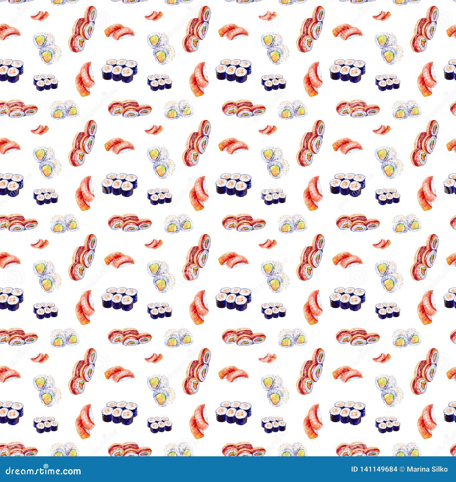 Waterverfillustratie van een reeks sushi en broodjes Geïsoleerdj op witte achtergrond Naadloos patroon