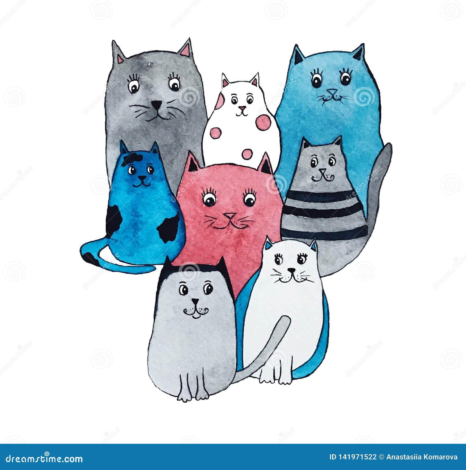 Waterverfillustratie van heldere leuke katten