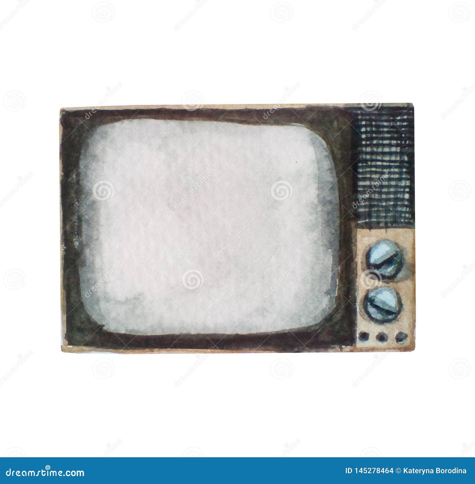 Waterverfillustratie van oude retro uitstekende die TV-reeks, op wit wordt geïsoleerd