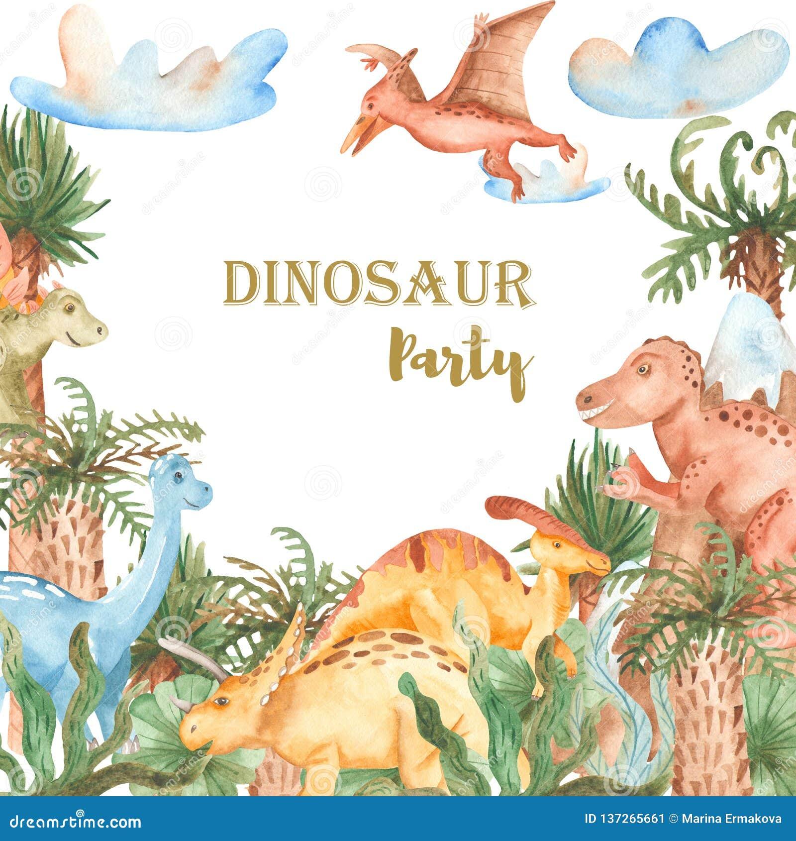 Waterverfkaart met leuke beeldverhaaldinosaurussen