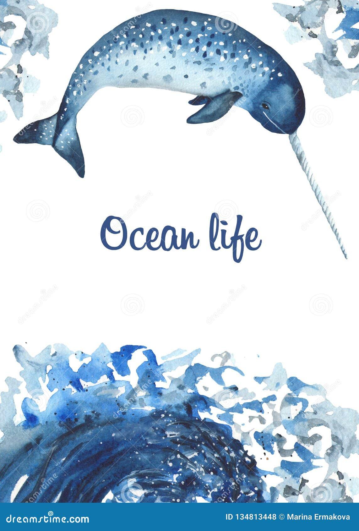 Waterverfkaart met oceanic zoogdieren