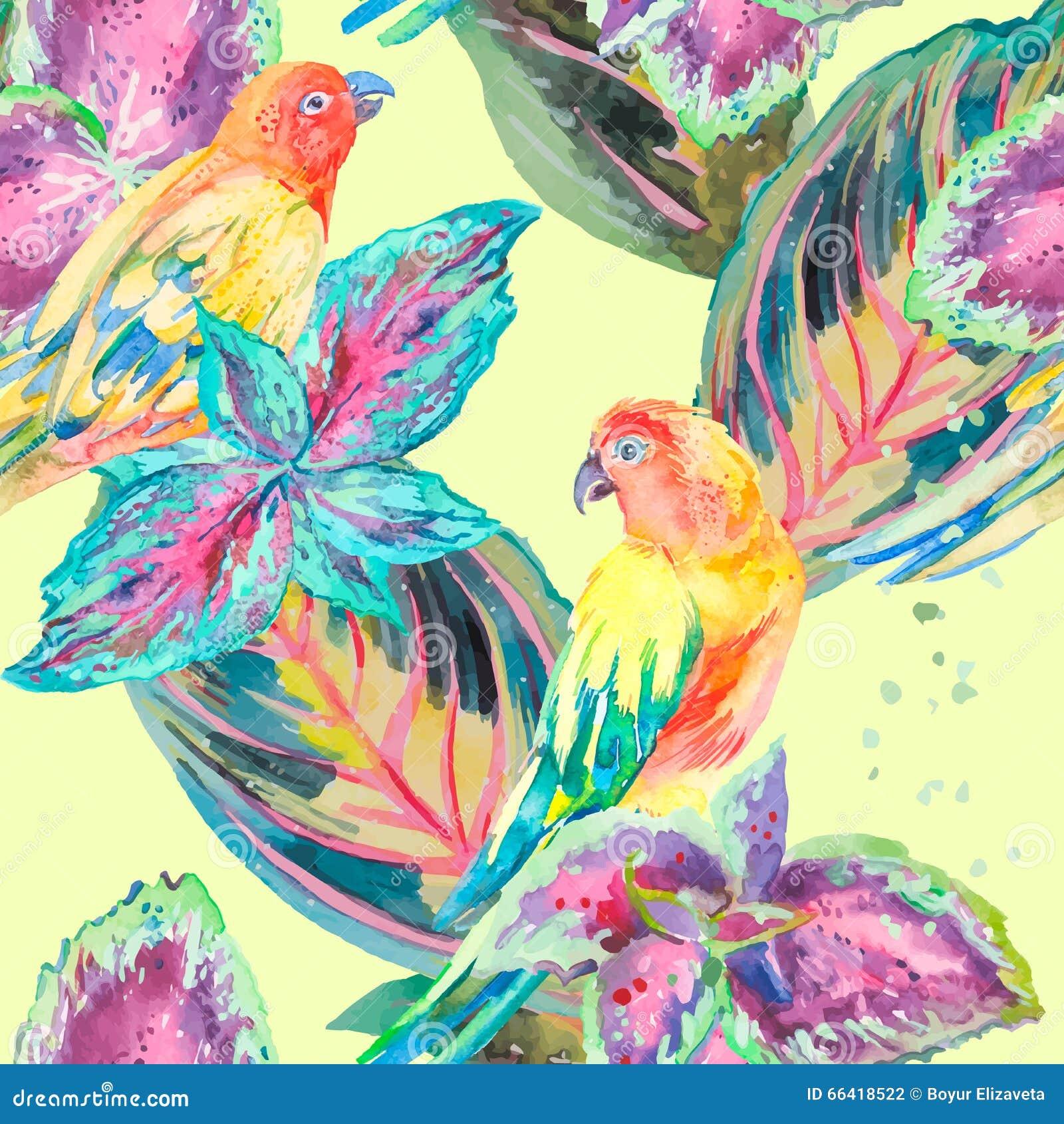 Waterverfpapegaaien Tropische bloem en bladeren exotisch