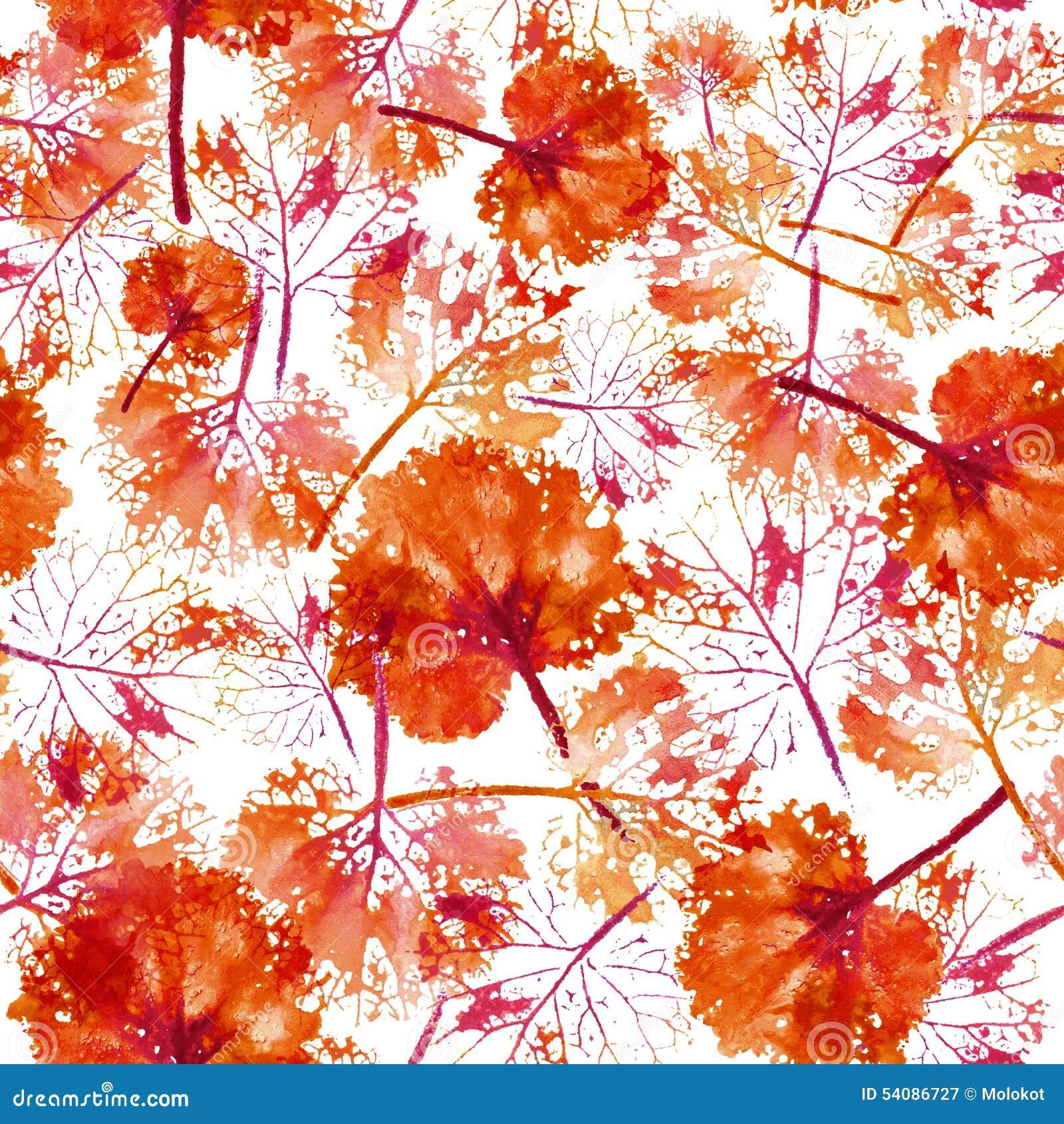 Waterverfpatroon van achtergrond van de bladeren de naadloze textuur