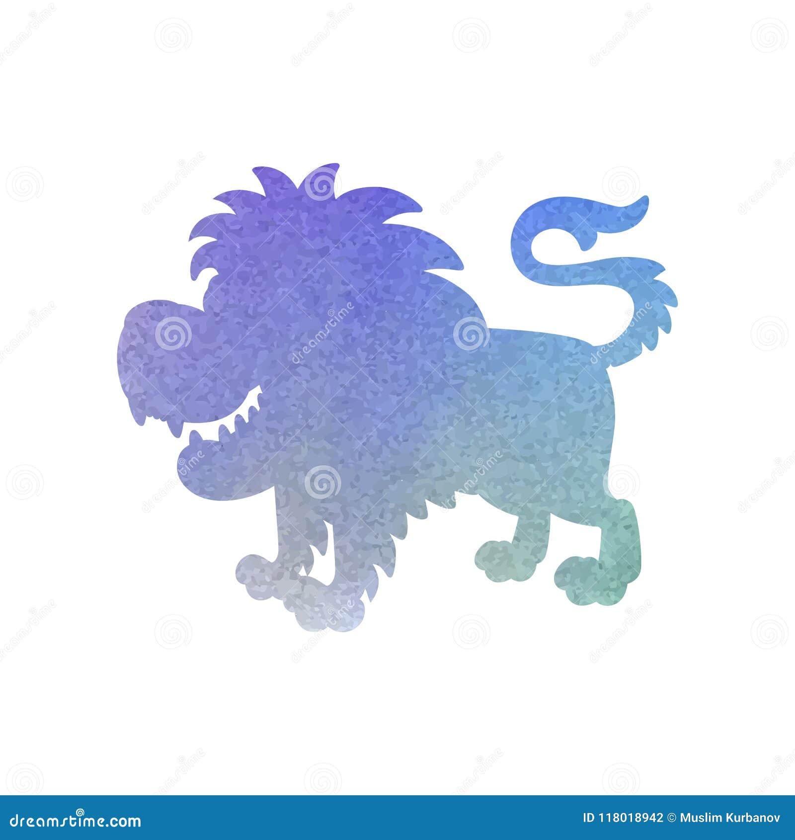 Waterverfsilhouet van een leeuw op een geïsoleerde achtergrond Vector