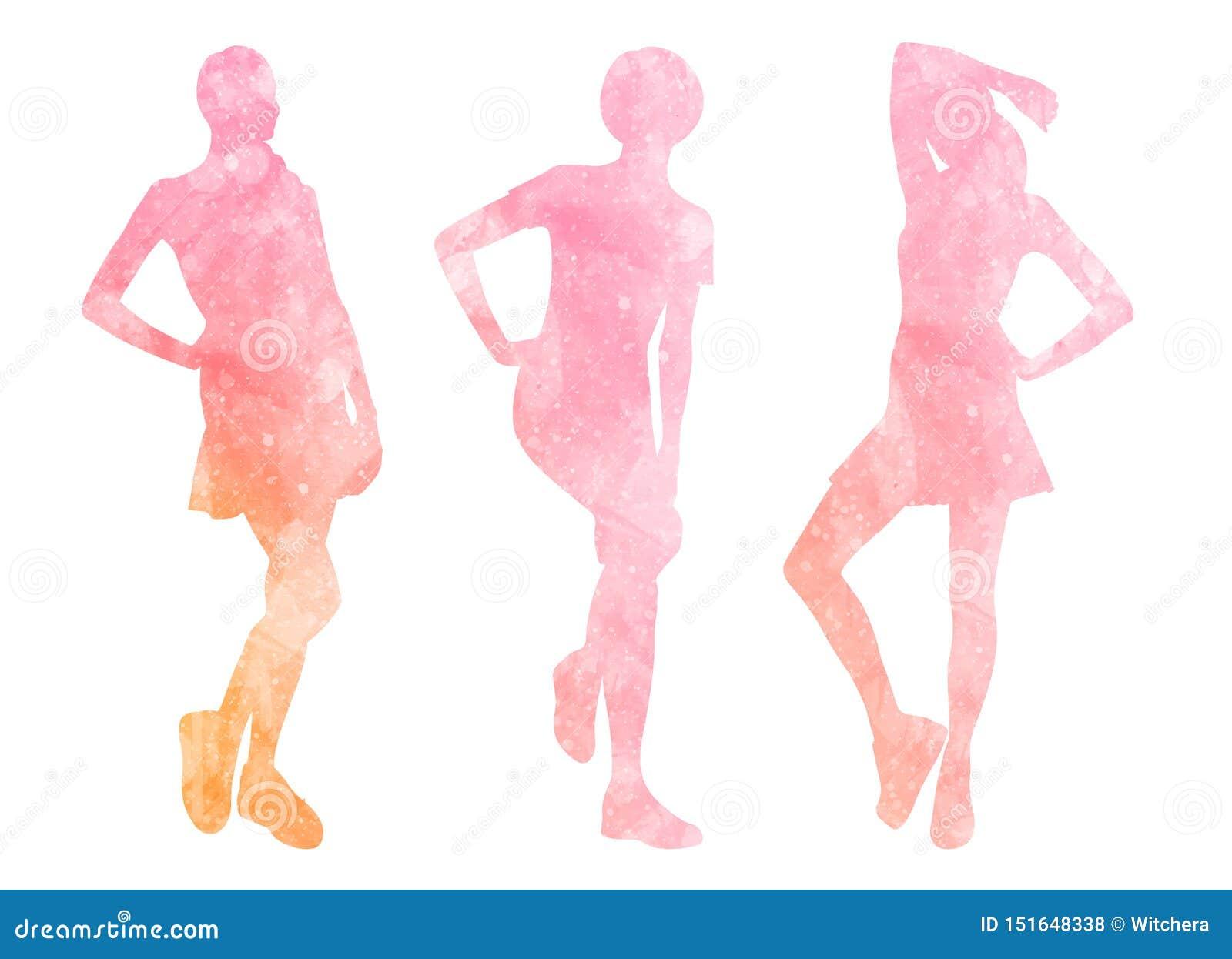 Waterverfsilhouetten van vrouwen
